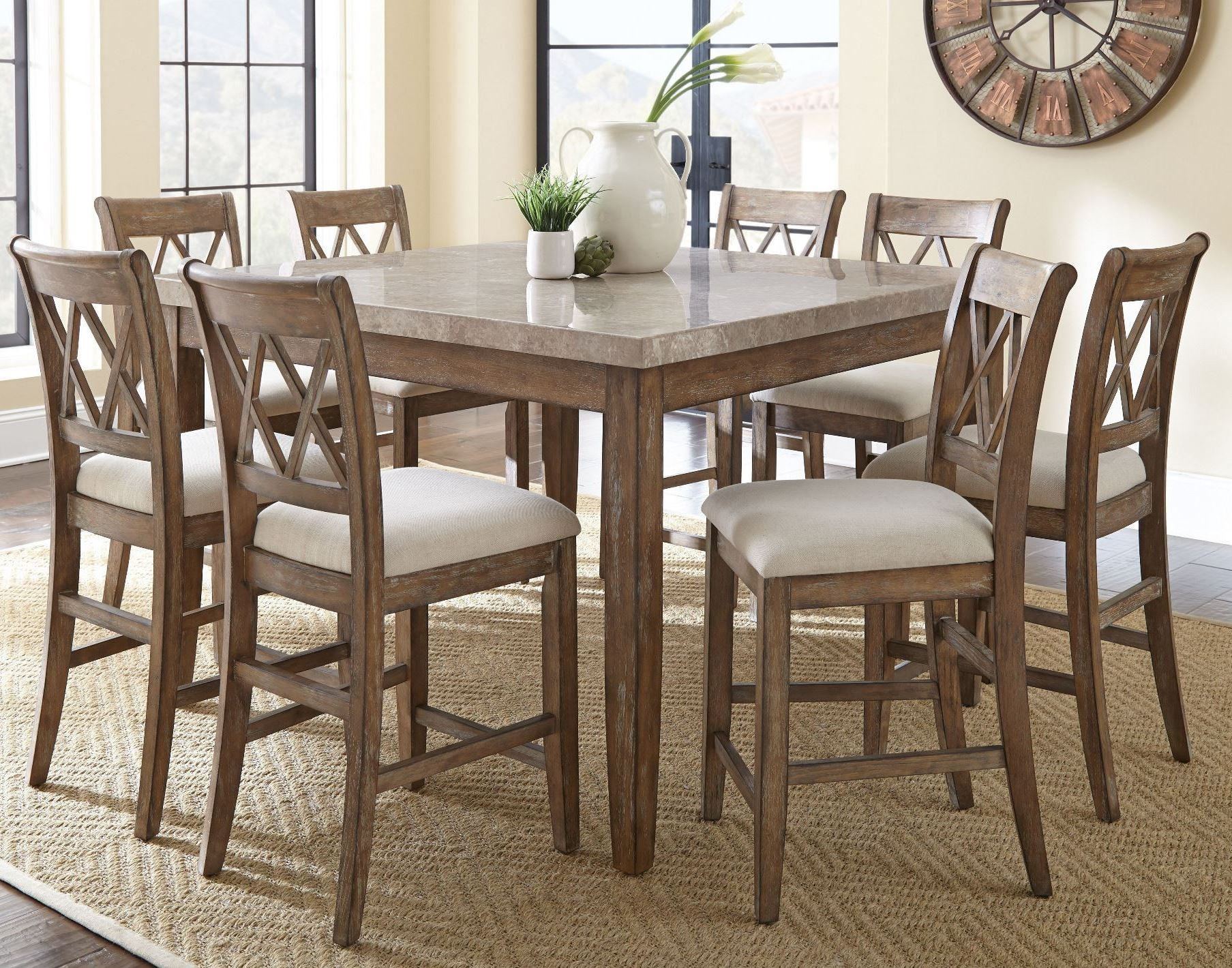 Franco Square Marble Top Counter Height Dining Room Set From Steve Silver  (FR5454WPT) | Coleman Furniture