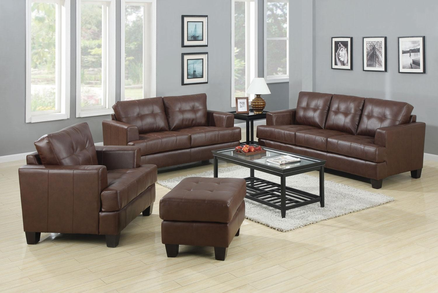 Samuel dark brown living room set from coaster 50407 for Dark brown living room set