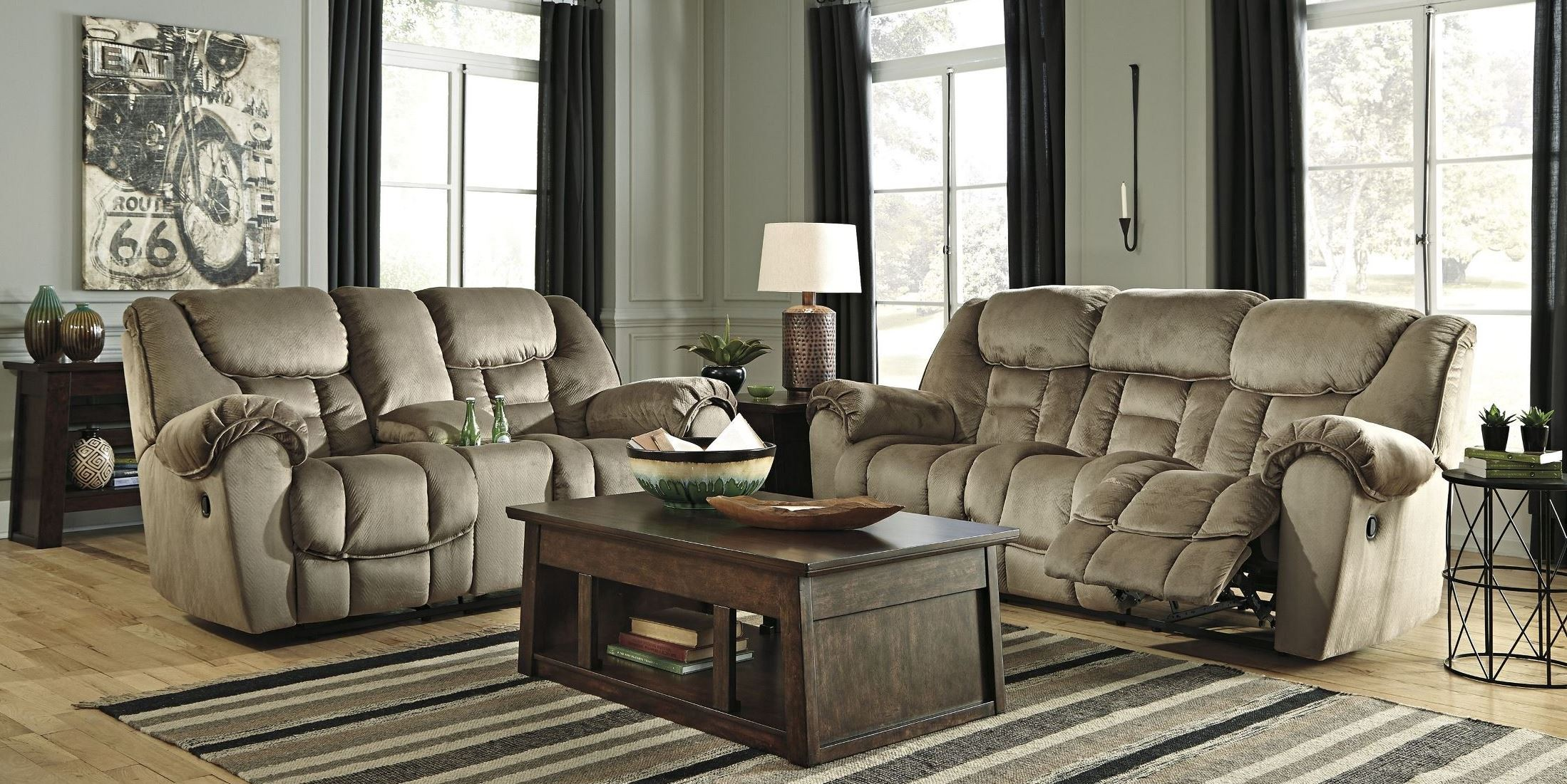 Jodoca Driftwood Reclining Living Room Set From Ashley