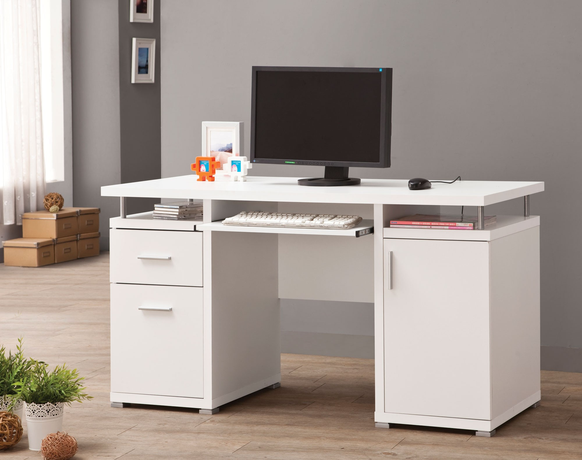 800108 White Computer Desk From Coaster 800108 Coleman