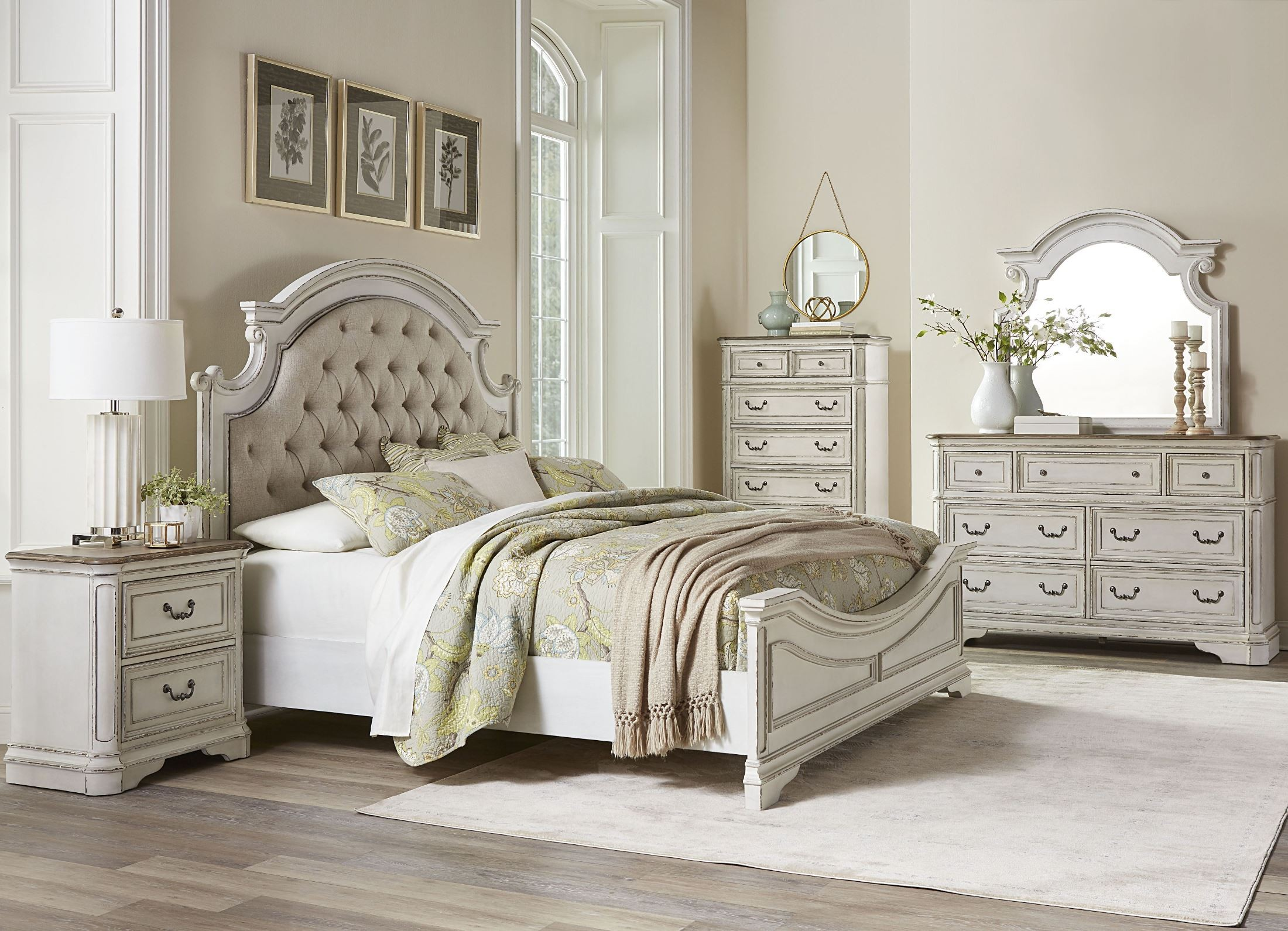Stevenson manor distressed white upholstered panel bedroom - Distressed bedroom furniture sets ...