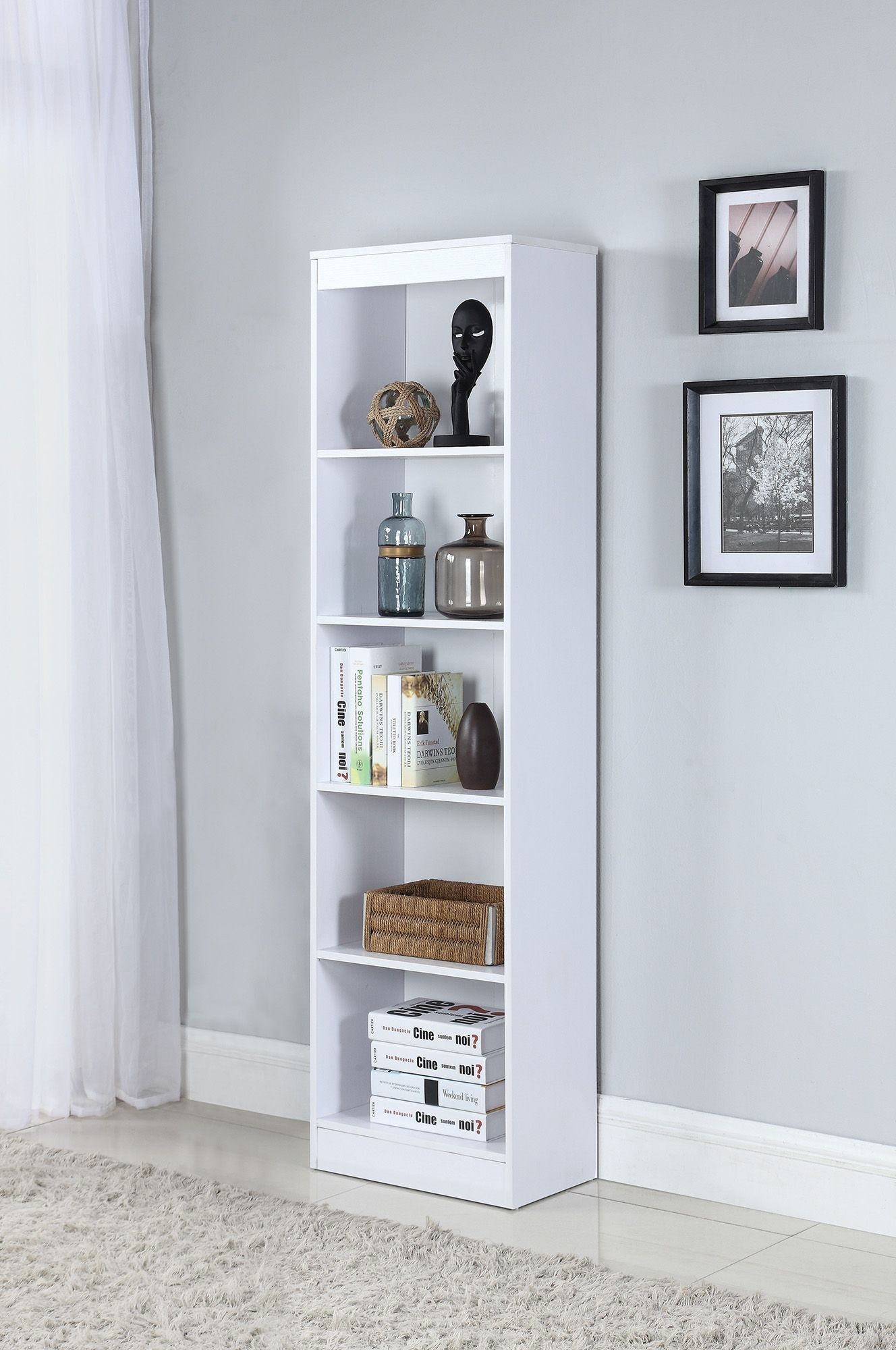 White 5 Shelf Narrow Bookcase From Coaster
