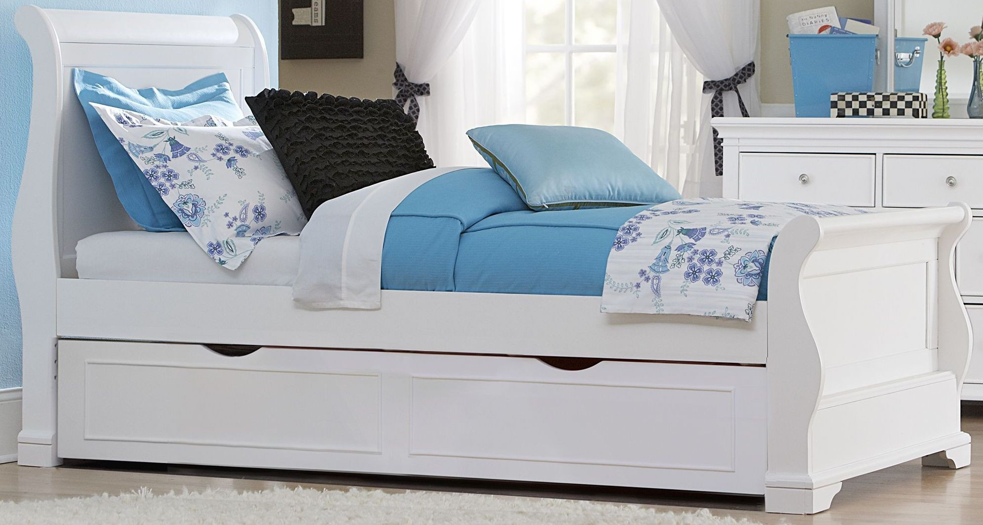 Walnut street white riley twin sleigh bed with trundle from ne kids coleman furniture White twin trundle bedroom set