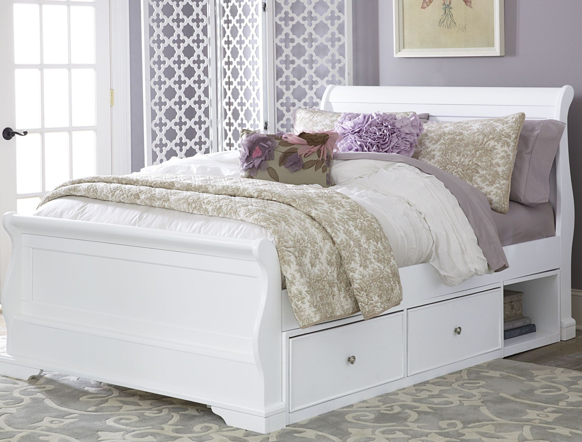 Walnut Street White Riley Full Sleigh Bed with Storage ...