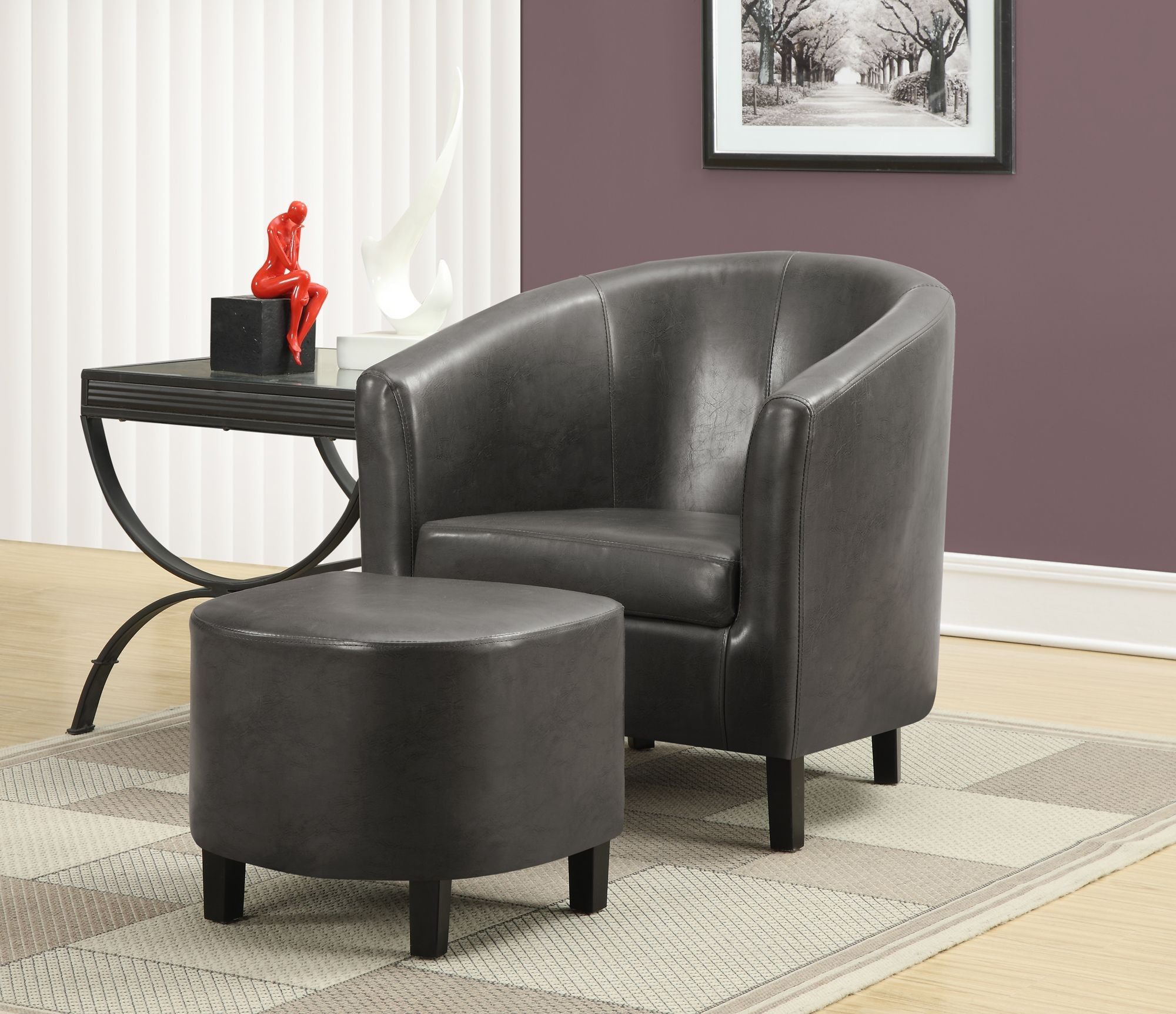 Charcoal Gray Accent Chair With Ottoman From Monarch 8054