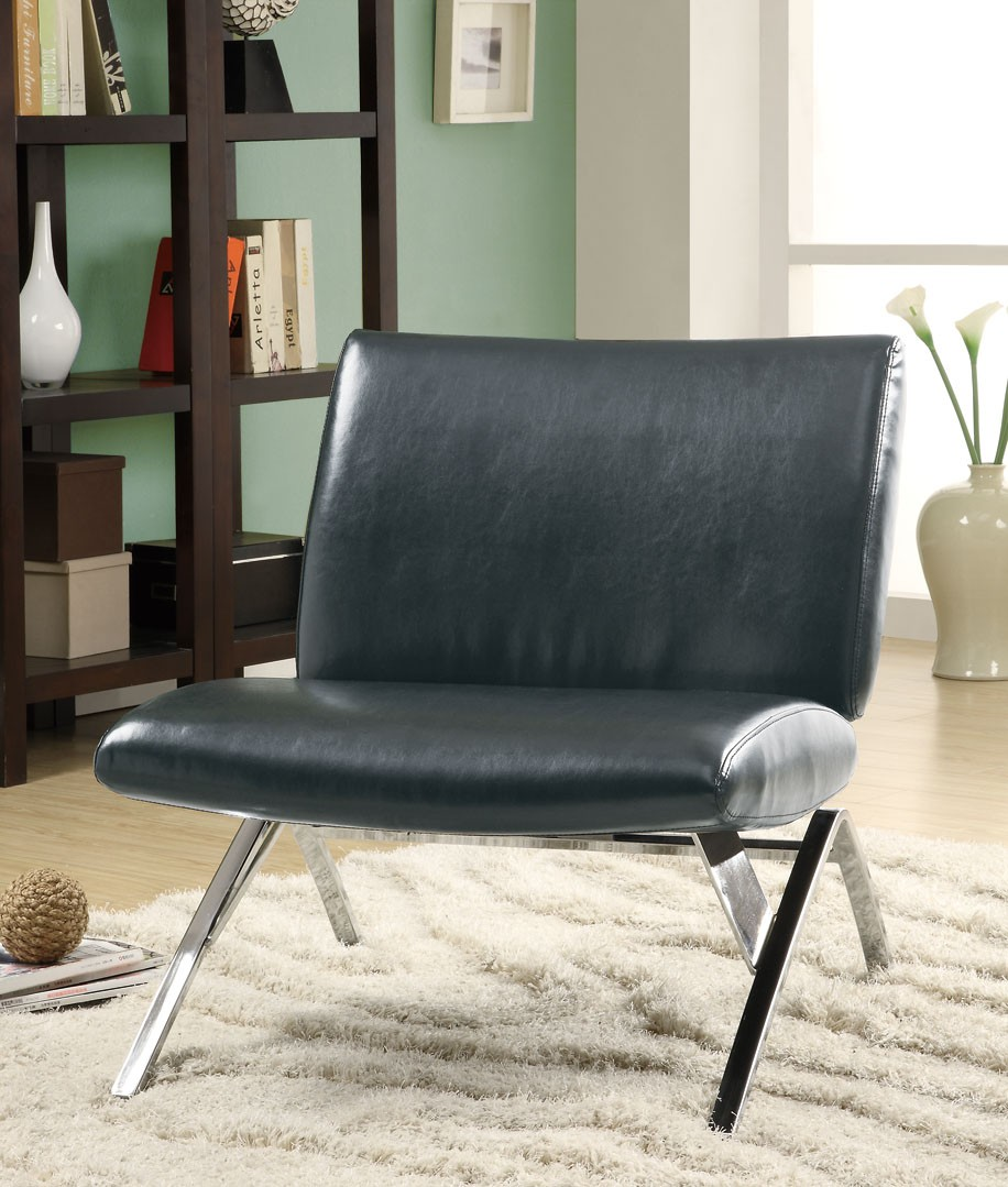 8073 Black Leather Look Chrome Metal Accent Chair From
