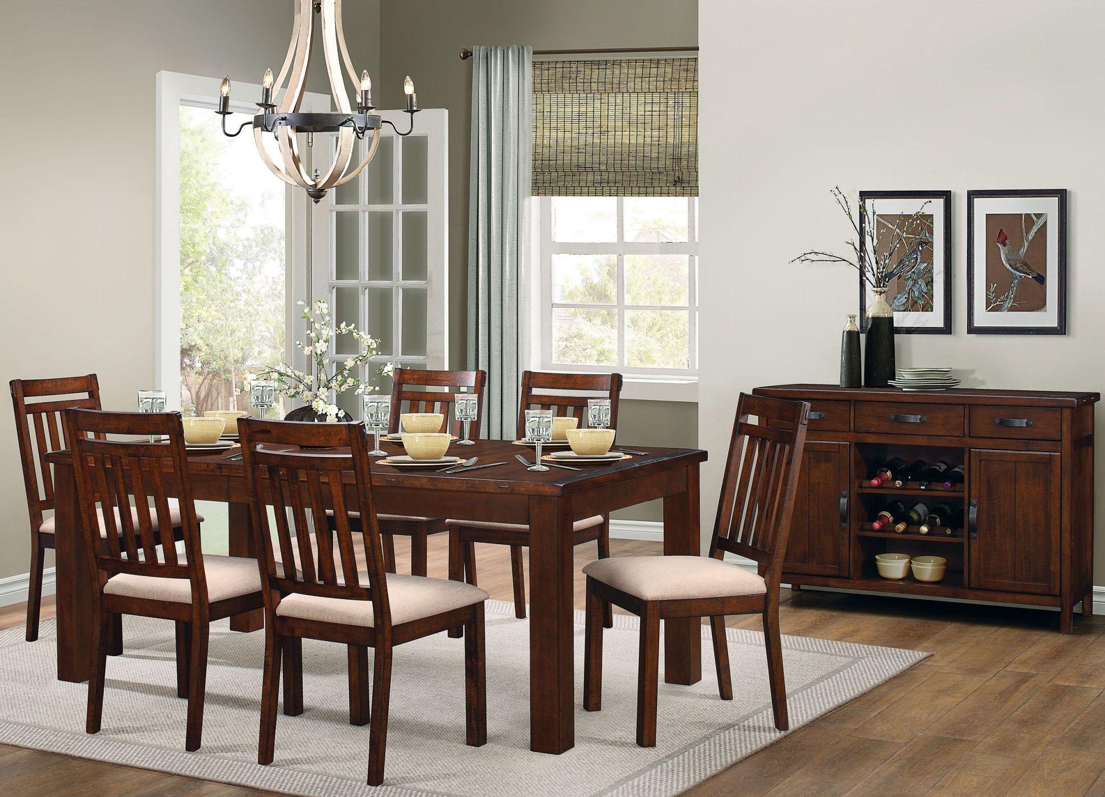 Santos brown dining room set from homelegance coleman for Brown dining room set