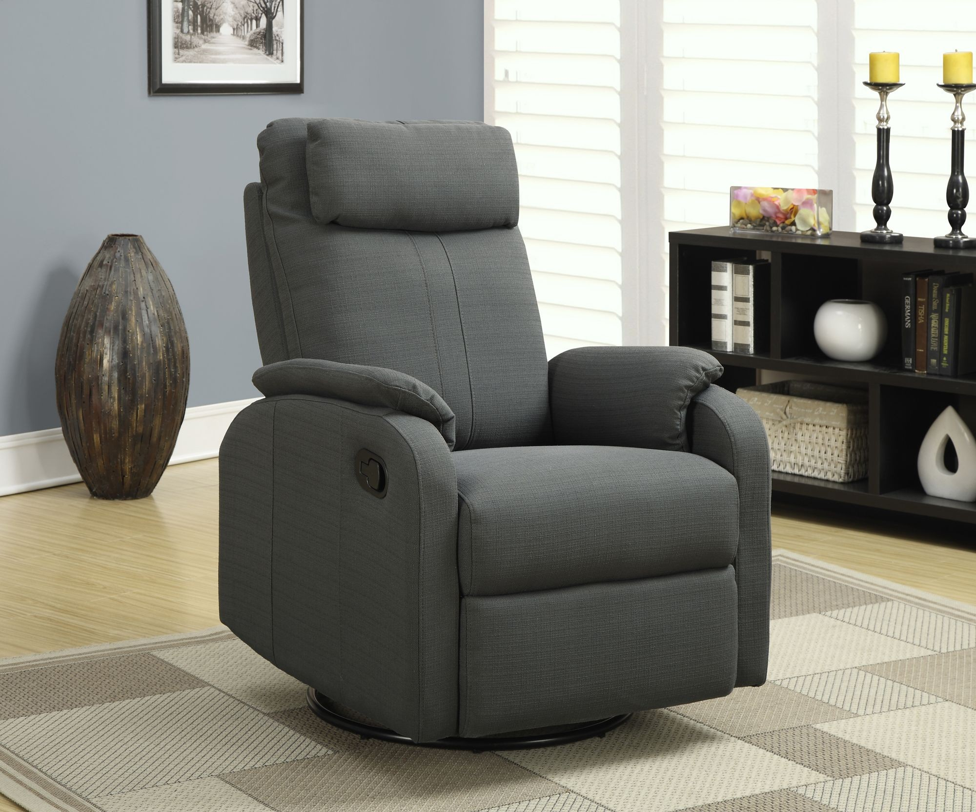 Charcoal Gray Linen Fabric Swivel Rocker Recliner From