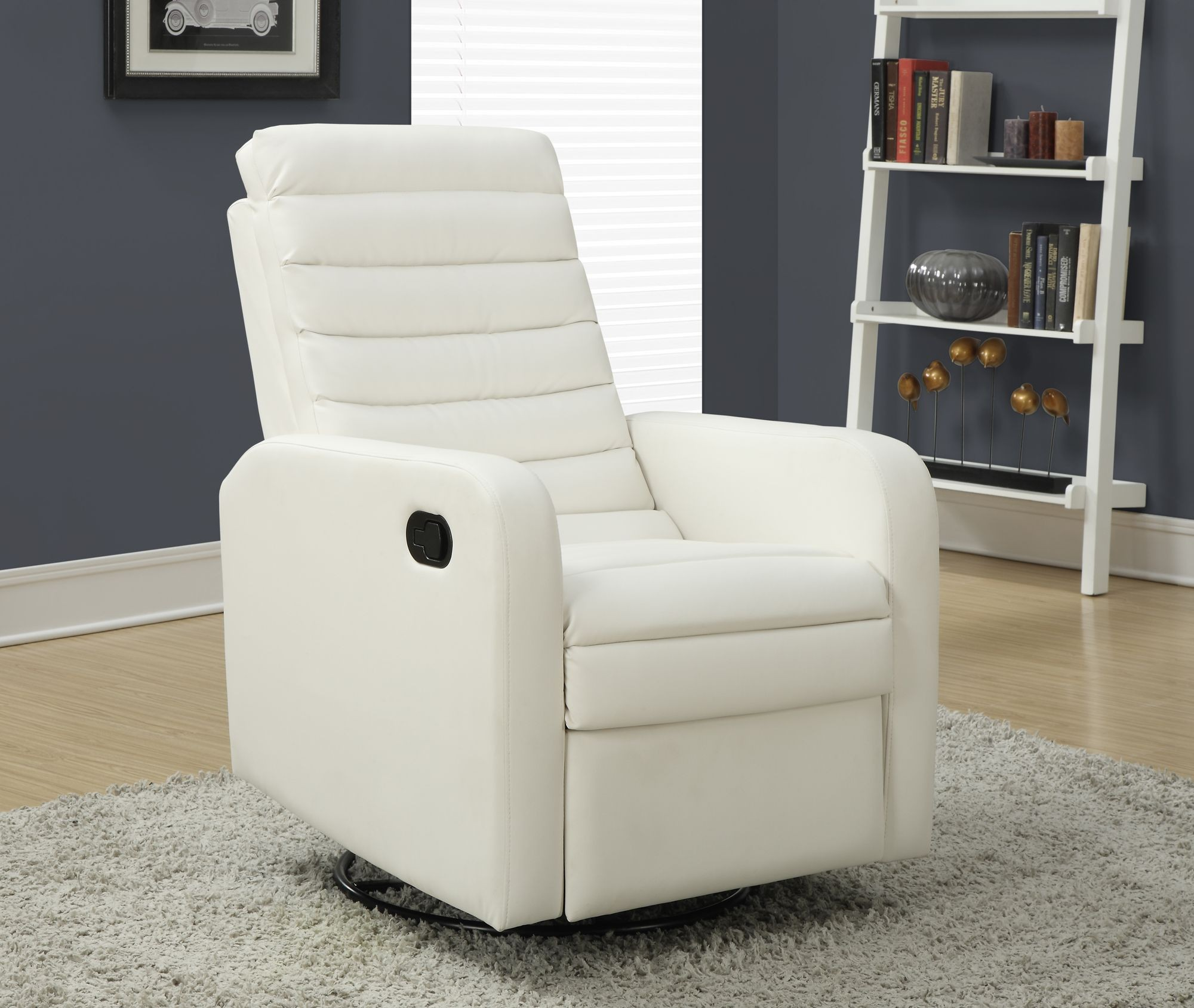 White Swivel Glider Recliner From Monarch 8086wh