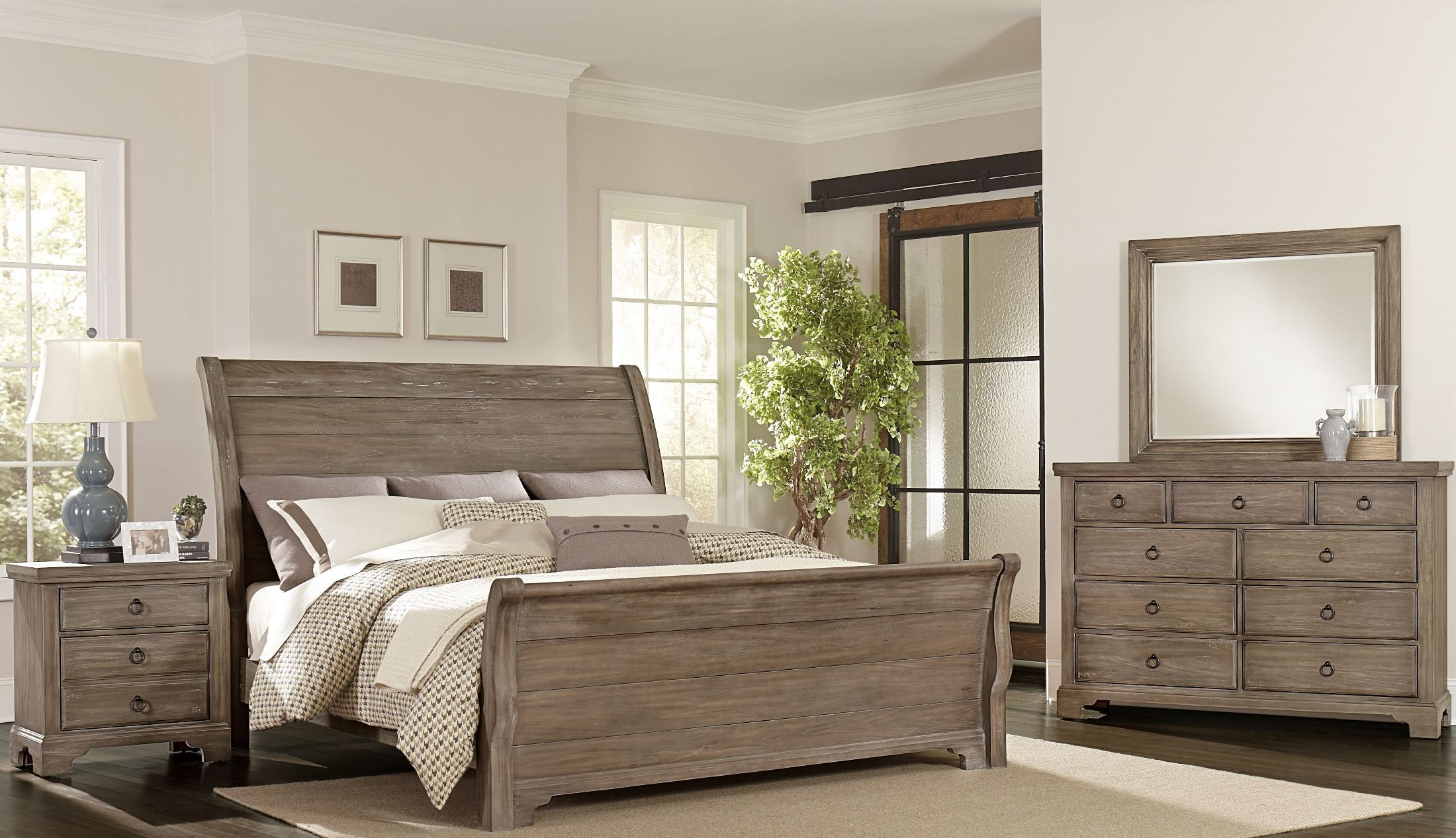 Whiskey barrel rustic gray sleigh bedroom set from Gray bedroom furniture