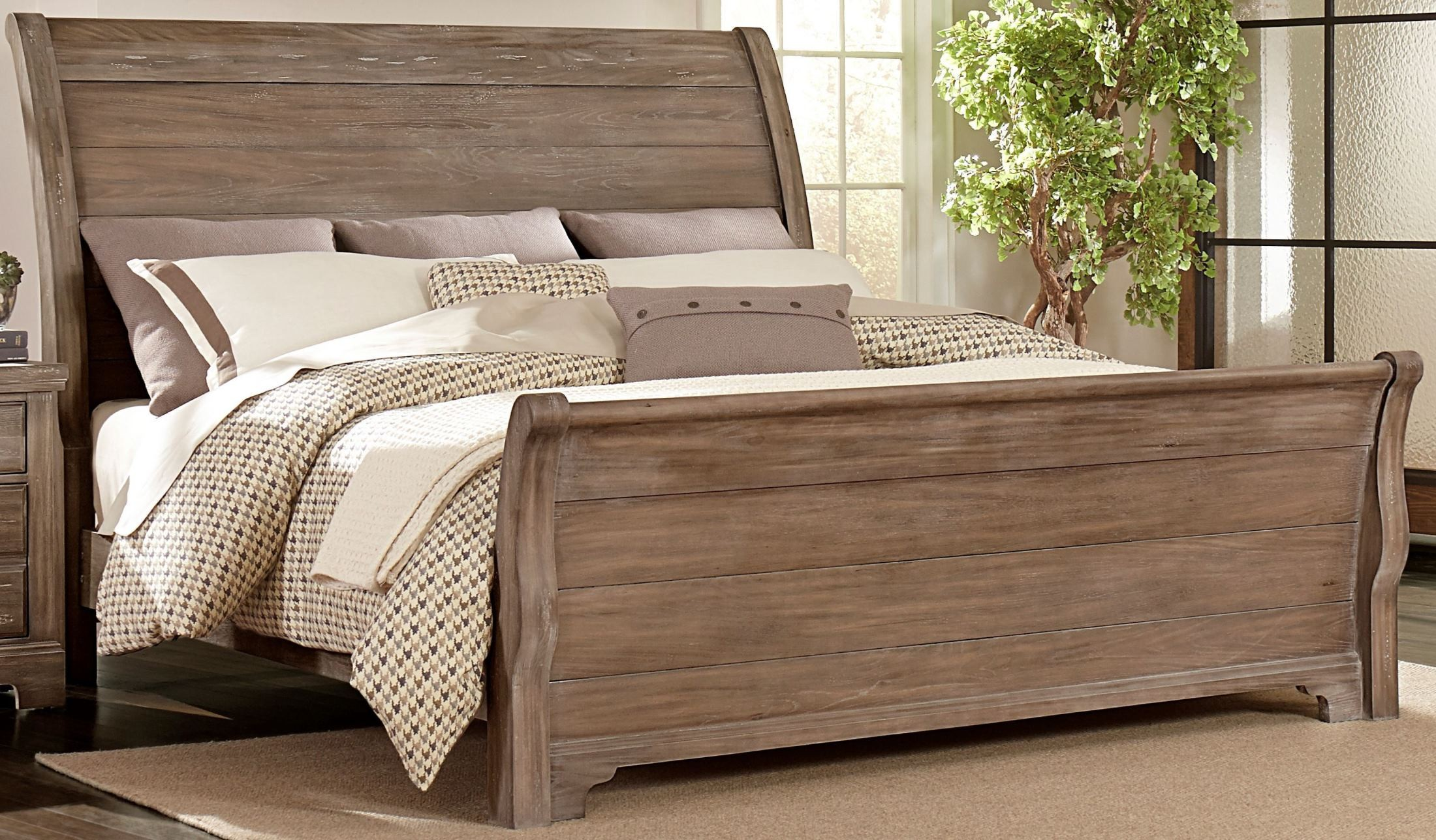 Whiskey Barrel Rustic Gray Sleigh Bedroom Set From Vaughn Bassett Coleman Furniture