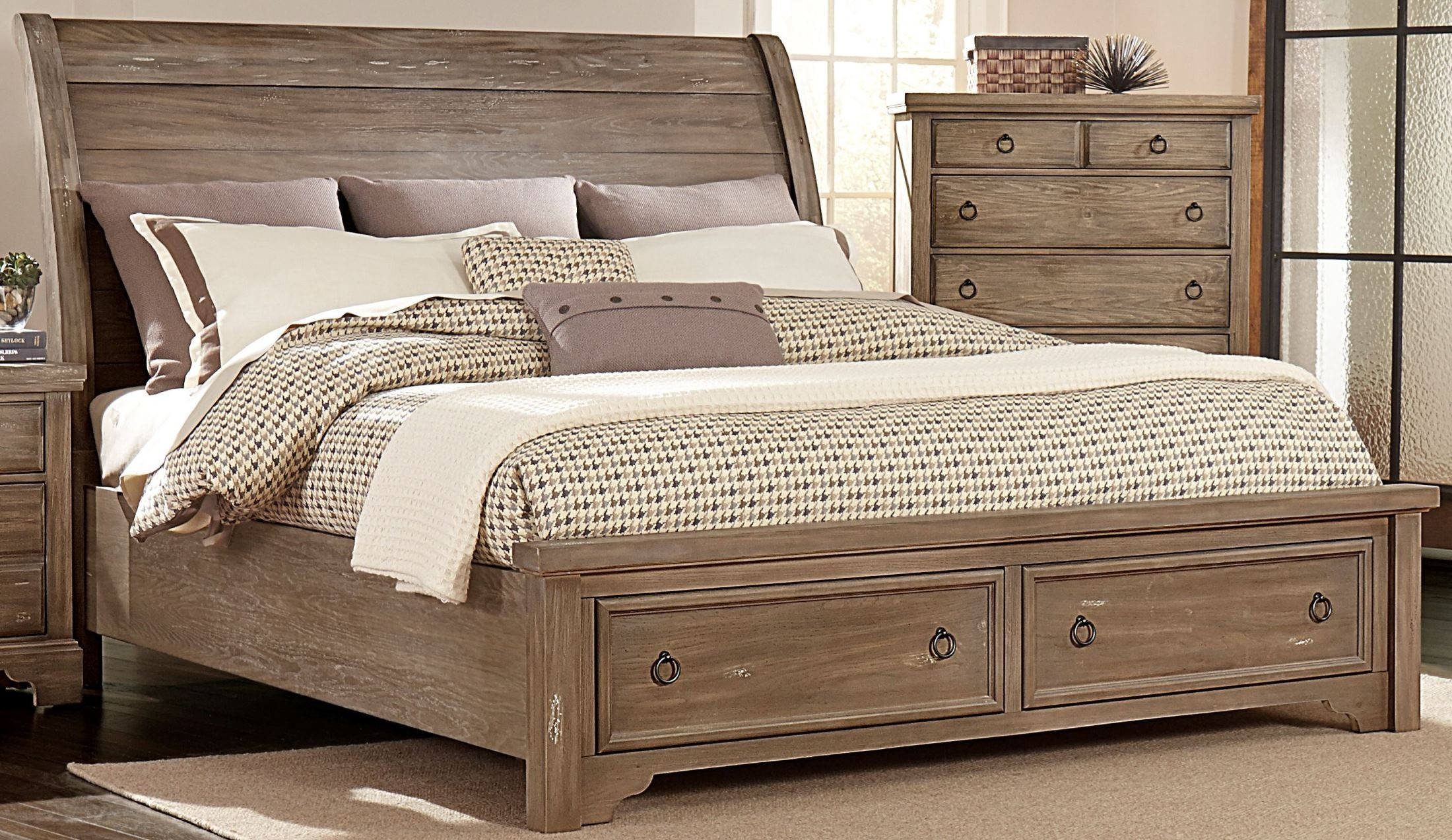 Whiskey Barrel Rustic Gray Sleigh Storage Bedroom Set From