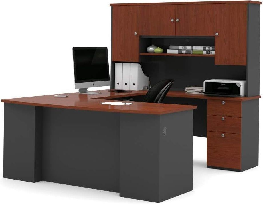 Manhattan Bordeaux And Graphite U Shaped Workstation From