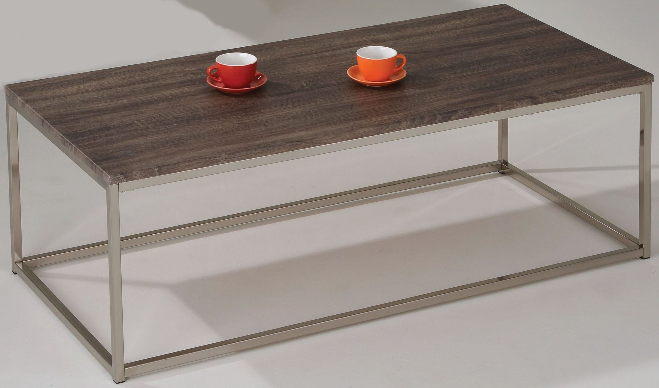 Cecil Walnut And Brushed Nickel Coffee Table From Acme Coleman Furniture