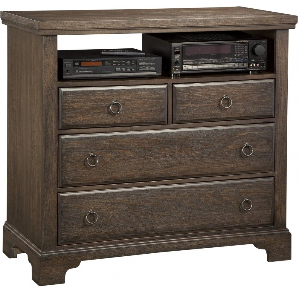 whiskey barrel dark roast 4 drawer media chest from vaughn bassett coleman furniture. Black Bedroom Furniture Sets. Home Design Ideas