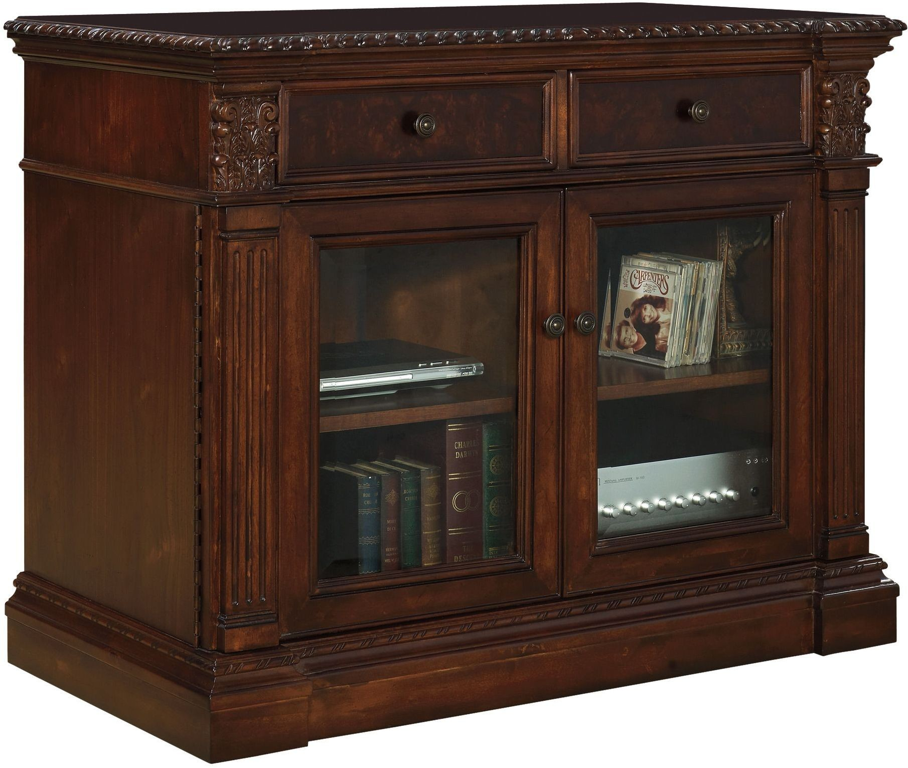 """Old World Furnishings: Old World Walnut 44"""" Entertainment Console From Hekman"""