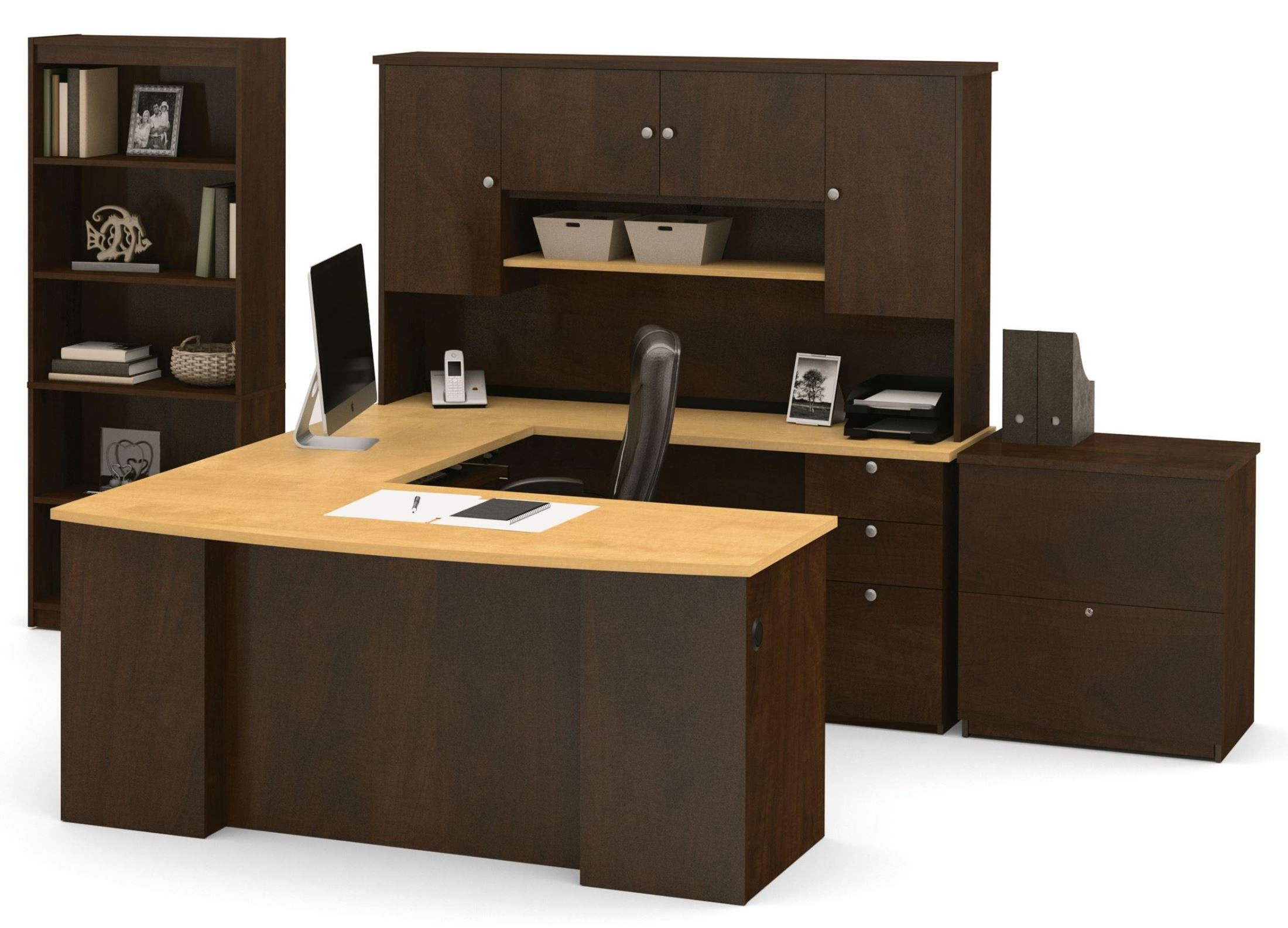 manhattan secret maple chocolate u shaped workstation from bestar 81850 1575 coleman furniture. Black Bedroom Furniture Sets. Home Design Ideas