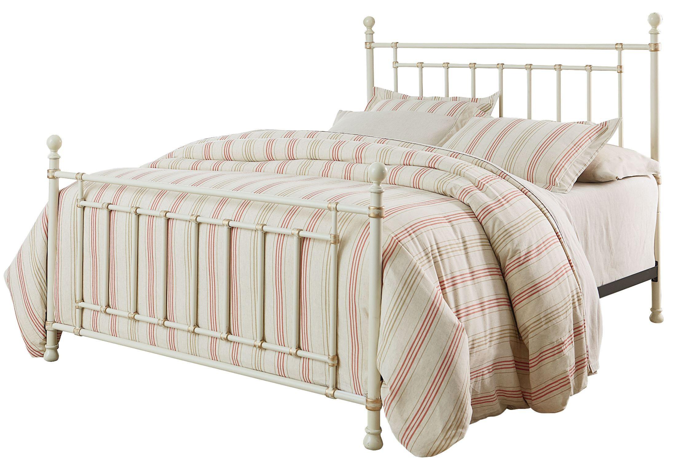 White Metal Bed Queen: Bennington White Queen Metal Bed From Standard Furniture