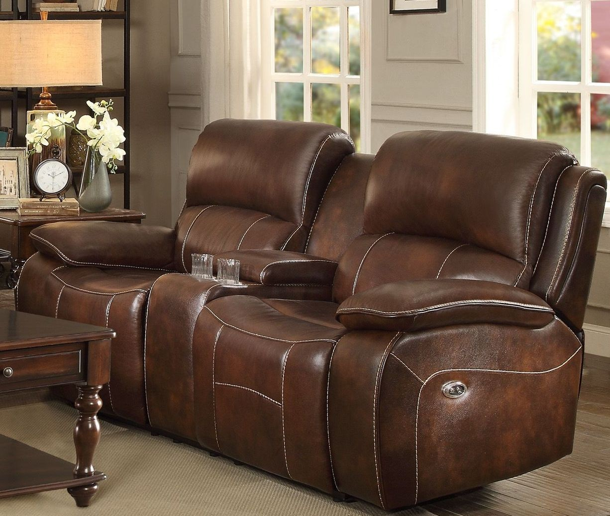 Mahala Brown Power Double Reclining Console Loveseat From Homelegance Coleman Furniture