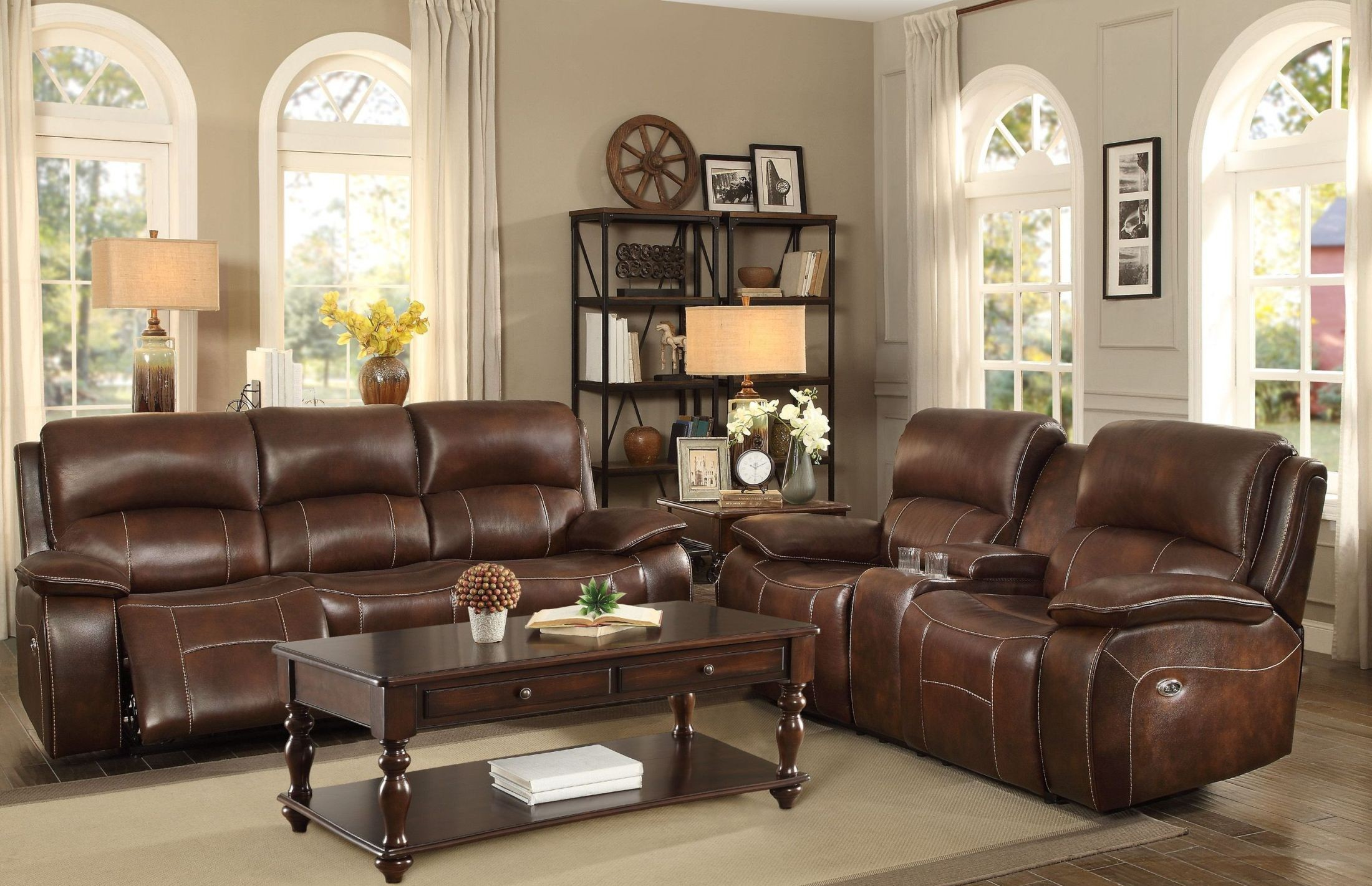 Mahala Brown Power Double Reclining Sofa From Homelegance