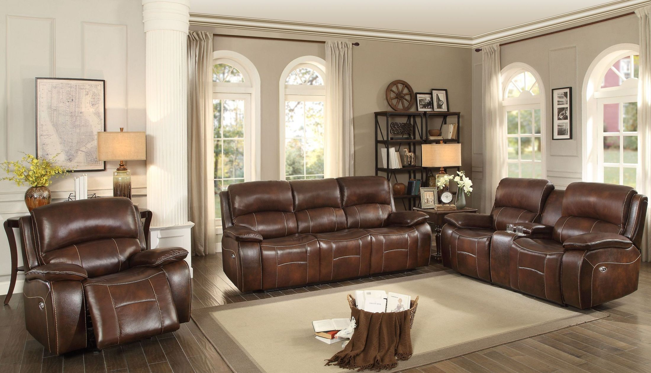 mahala brown power double reclining living room set from homelegance coleman furniture. Black Bedroom Furniture Sets. Home Design Ideas