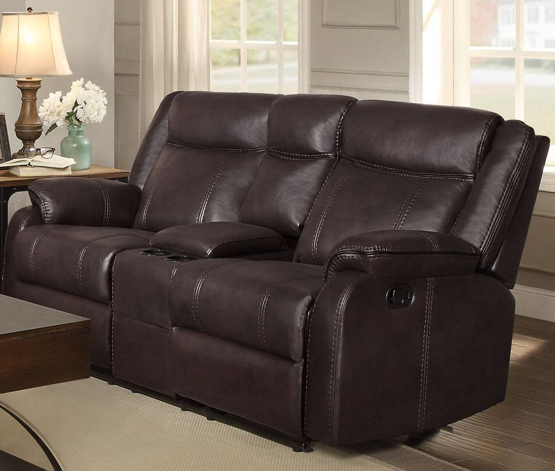 Jude Brown Double Glider Reclining Console Loveseat From Homelegance Coleman Furniture