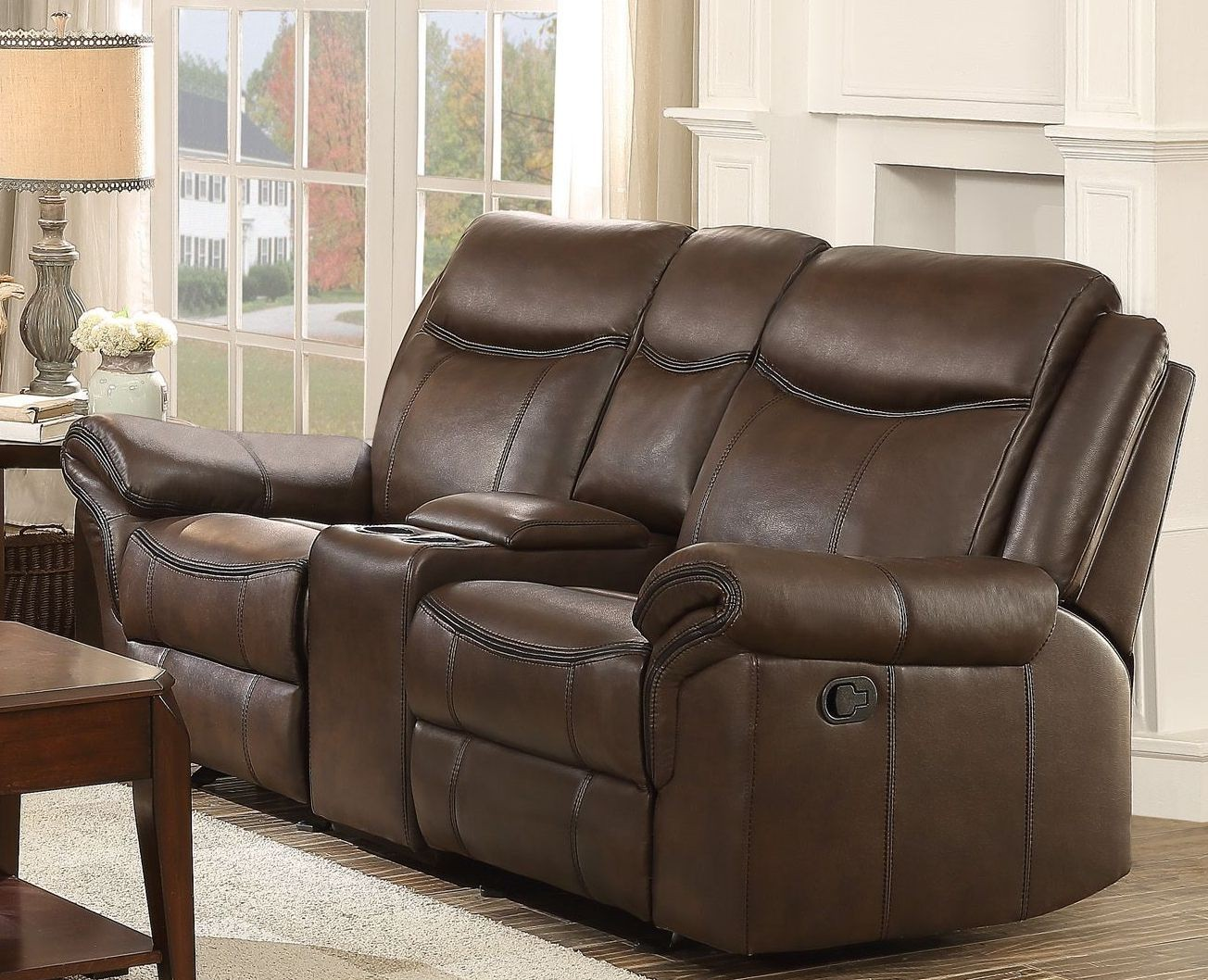 Aram Dark Brown Double Glider Reclining Console Loveseat