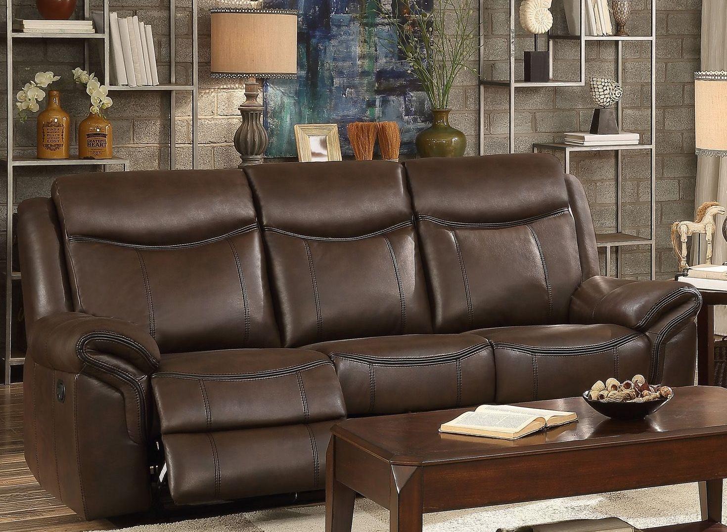 Aram Dark Brown Double Reclining Sofa From Homelegance