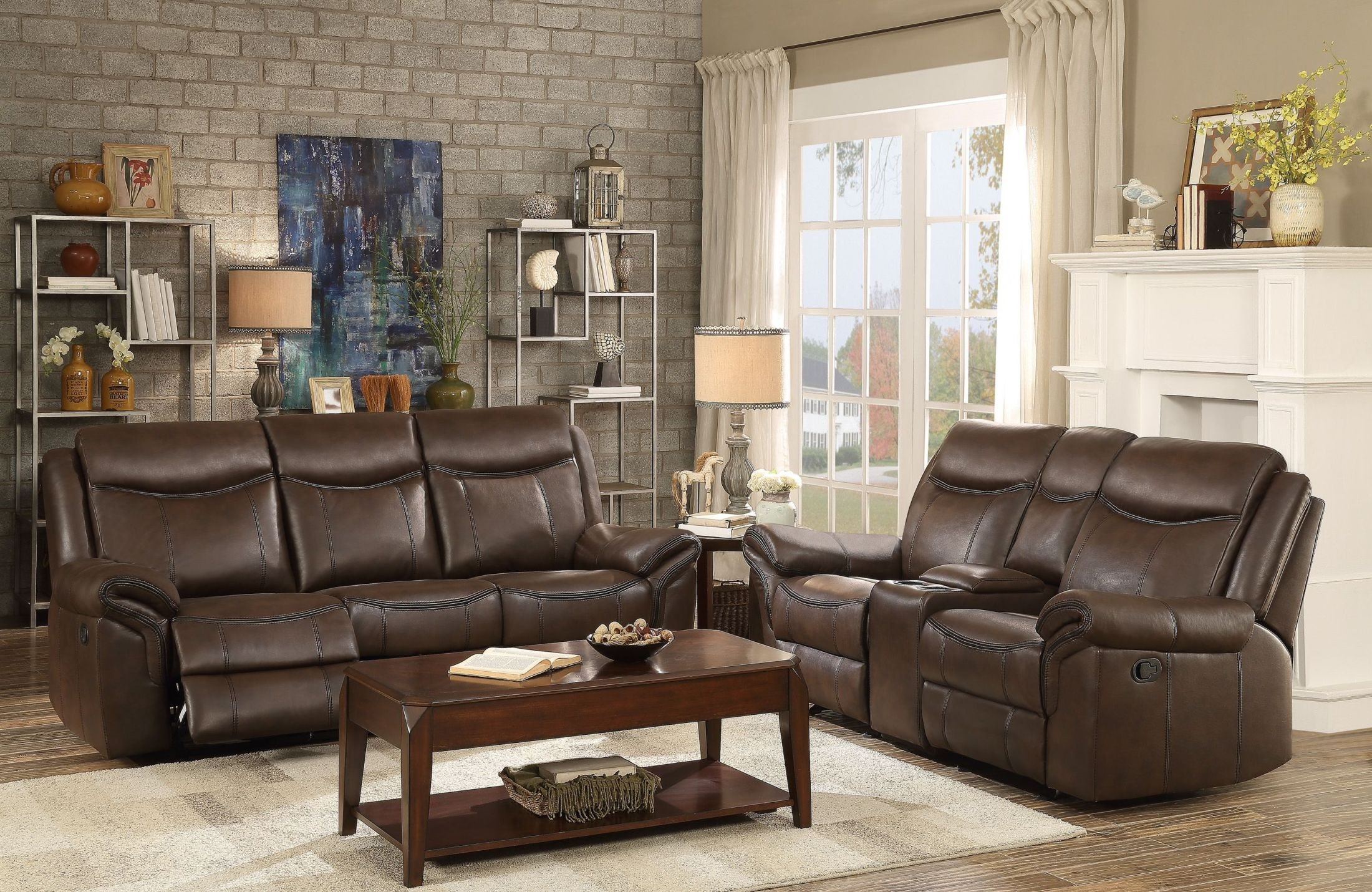 Aram dark brown double reclining living room set from for Dark brown living room set