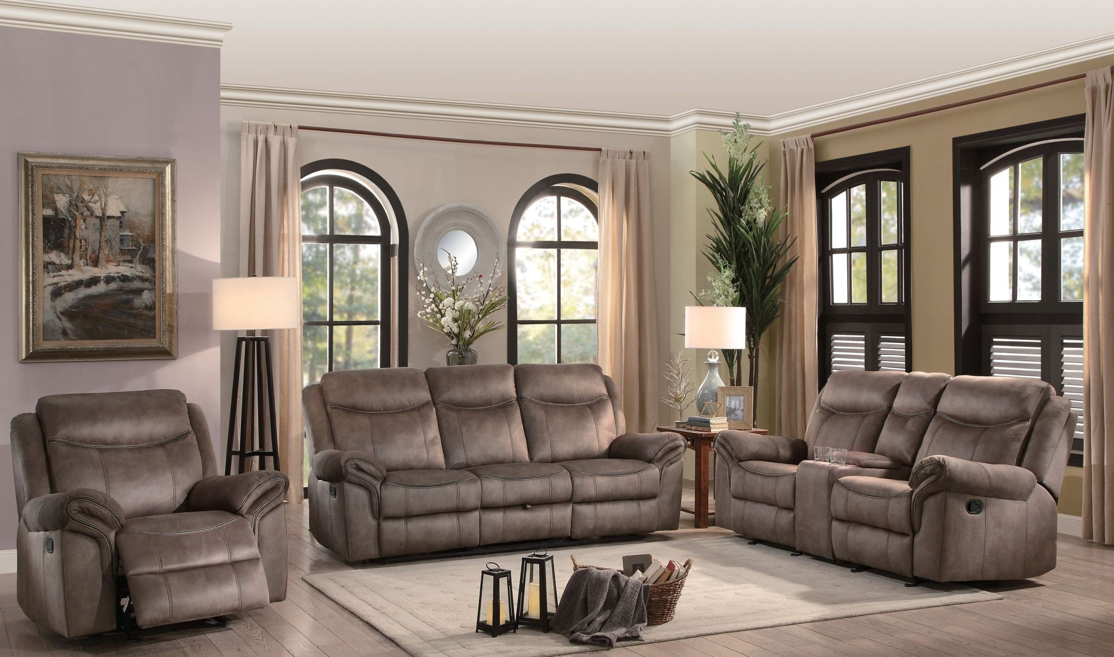 Aram Brown Double Reclining Living Room Set From Homelegance  # Muebles Nicasio Orono