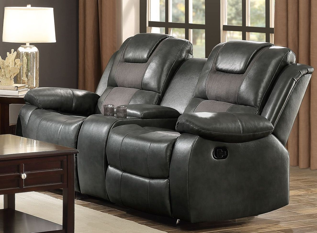 Taye Gray Double Glider Reclining Console Loveseat From Homelegance Coleman Furniture