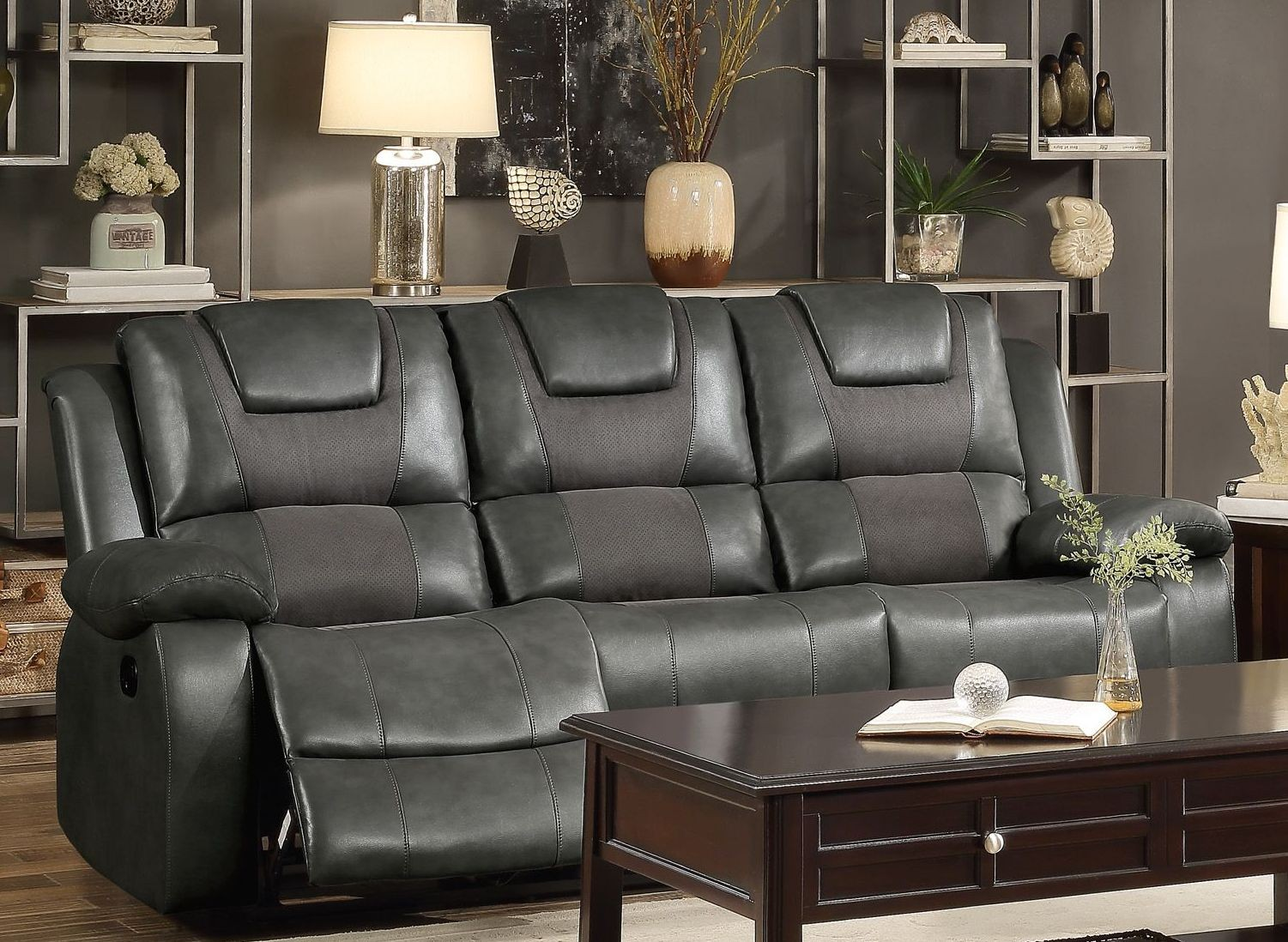 Taye gray double reclining sofa from homelegance coleman for Grey double divan
