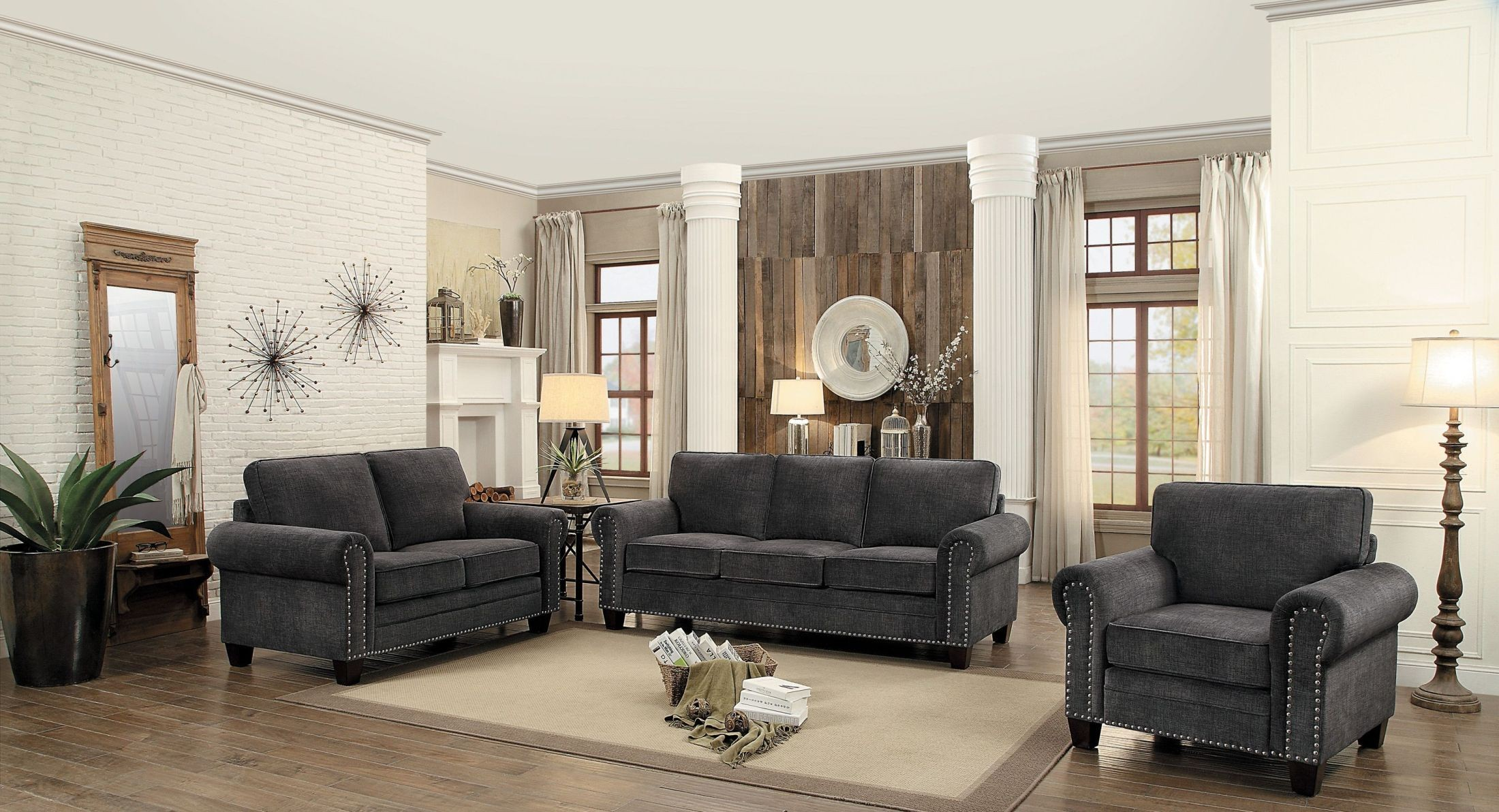 cornelia dark grey living room set from homelegance coleman furniture. Black Bedroom Furniture Sets. Home Design Ideas