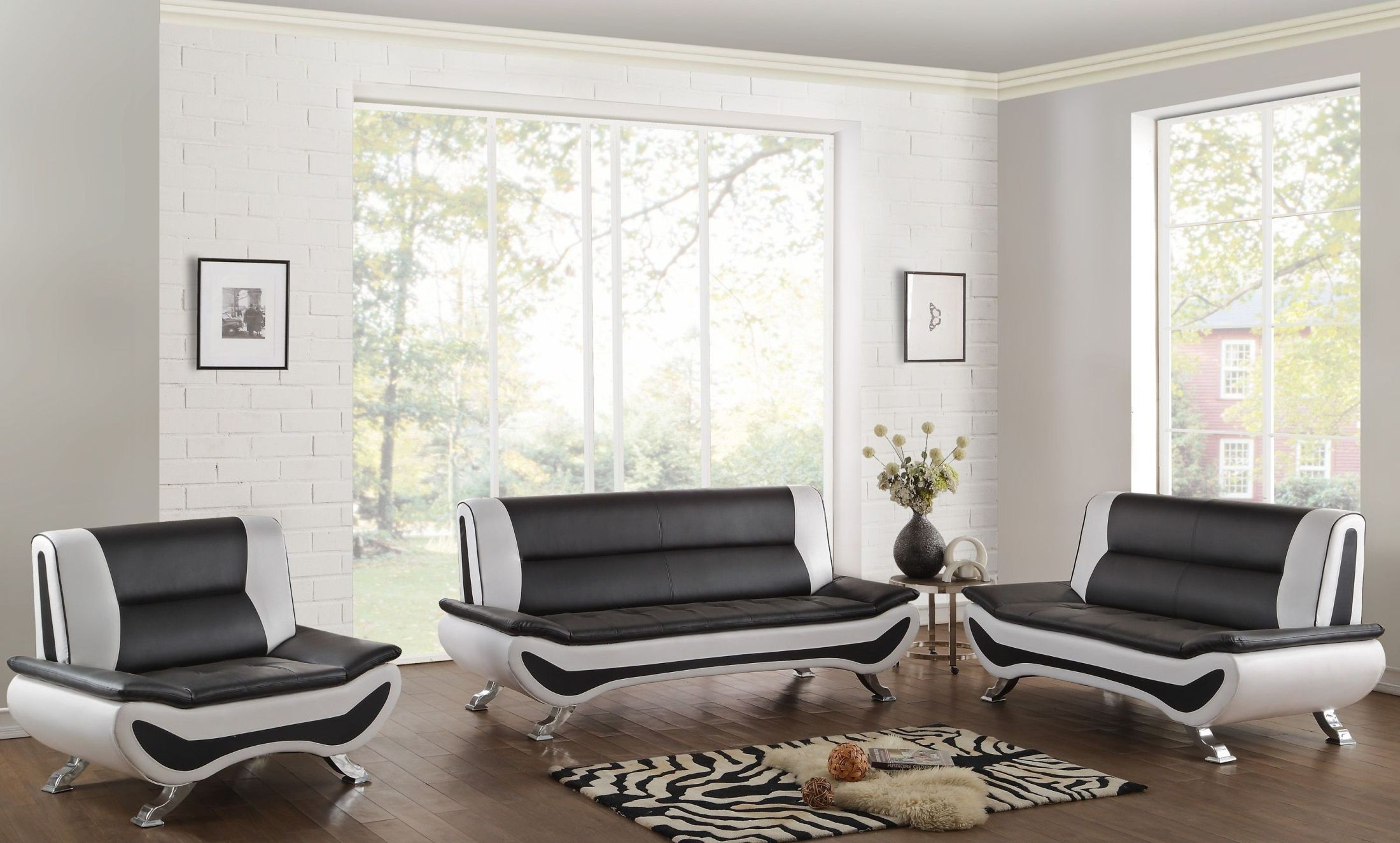 Veloce black and white living room set from homelegance - Black and white living room furniture ...