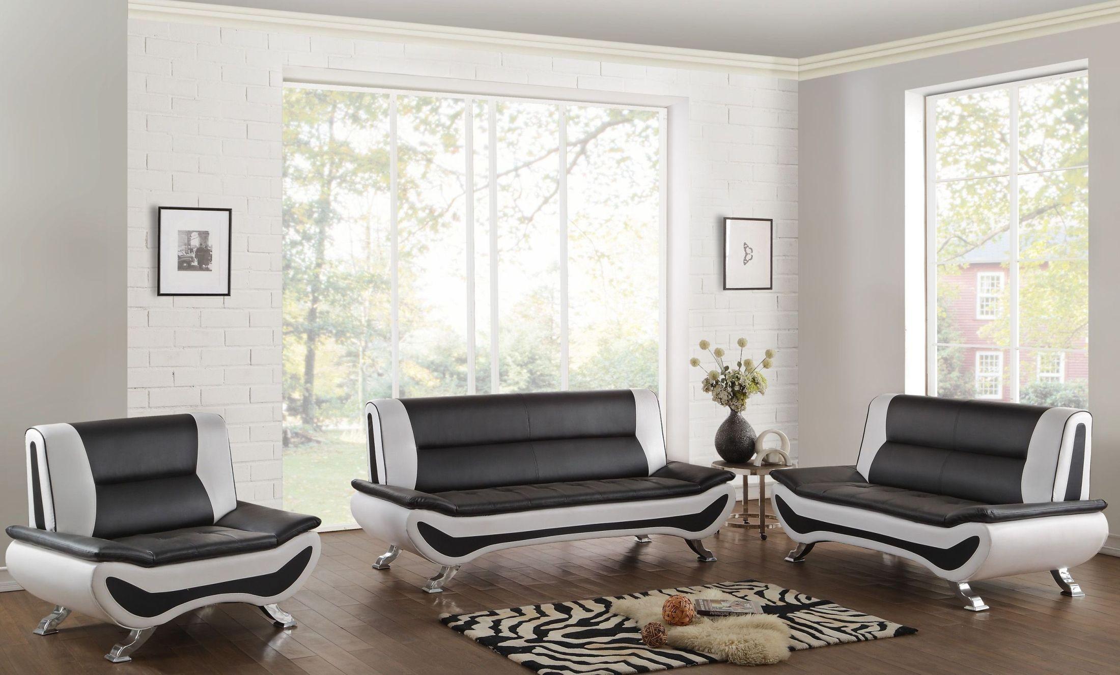 Veloce Black And White Living Room Set From Homelegance