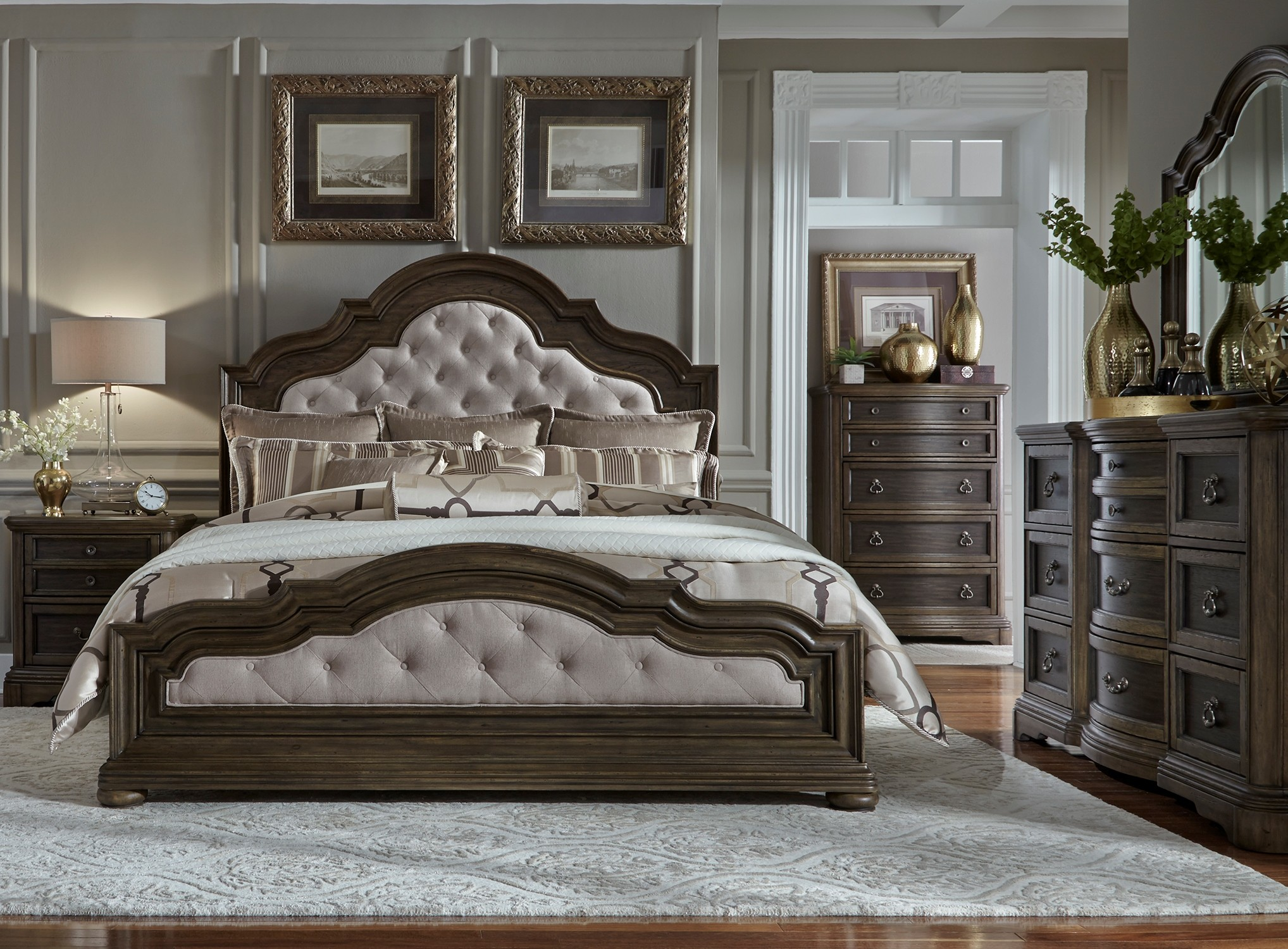 Valley Springs Brown and Beige Upholstered Bedroom Set from ...