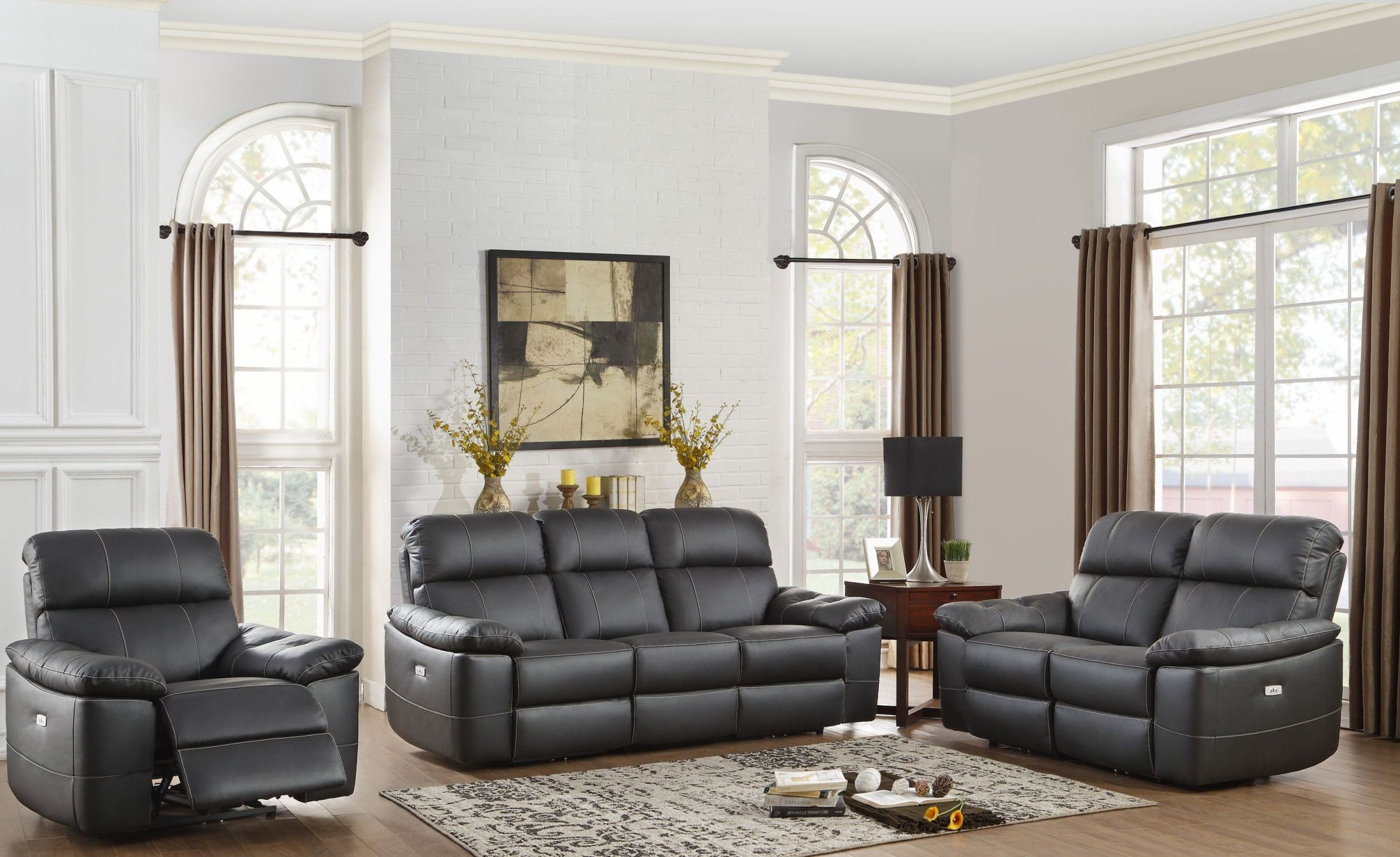 Nicasio Black Power Double Reclining Sofa From Homelegance Coleman Furniture
