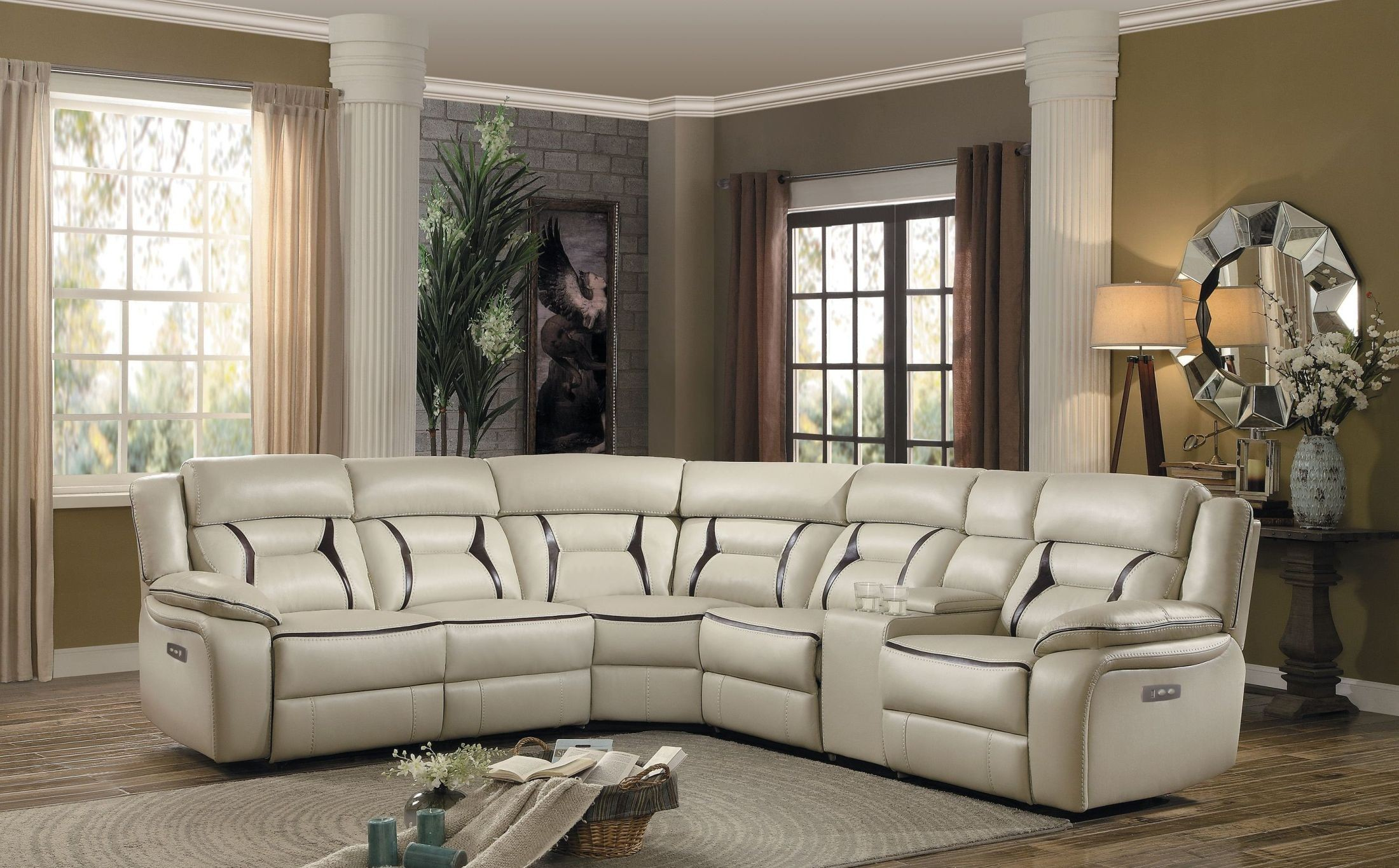 Amite Beige Power Reclining Sectional From Homelegance Coleman  # Muebles Nicasio Orono