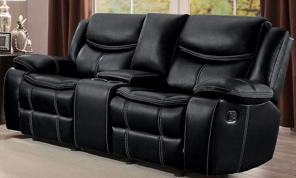 Bastrop Black Double Glider Reclining Console Loveseat From Homelegance Coleman Furniture