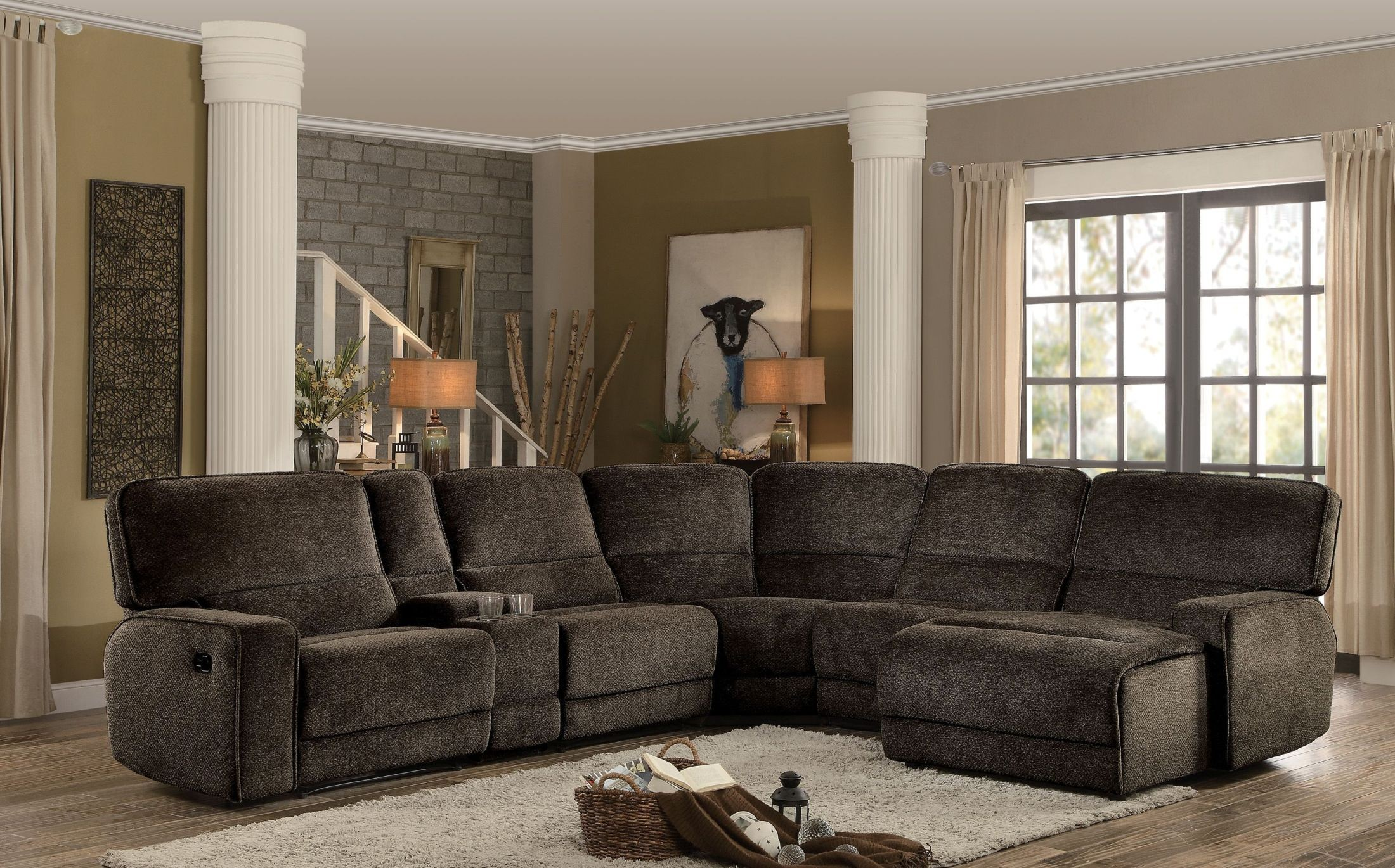 Superieur Shreveport Brown Reclining Sectional From Homelegance | Coleman Furniture