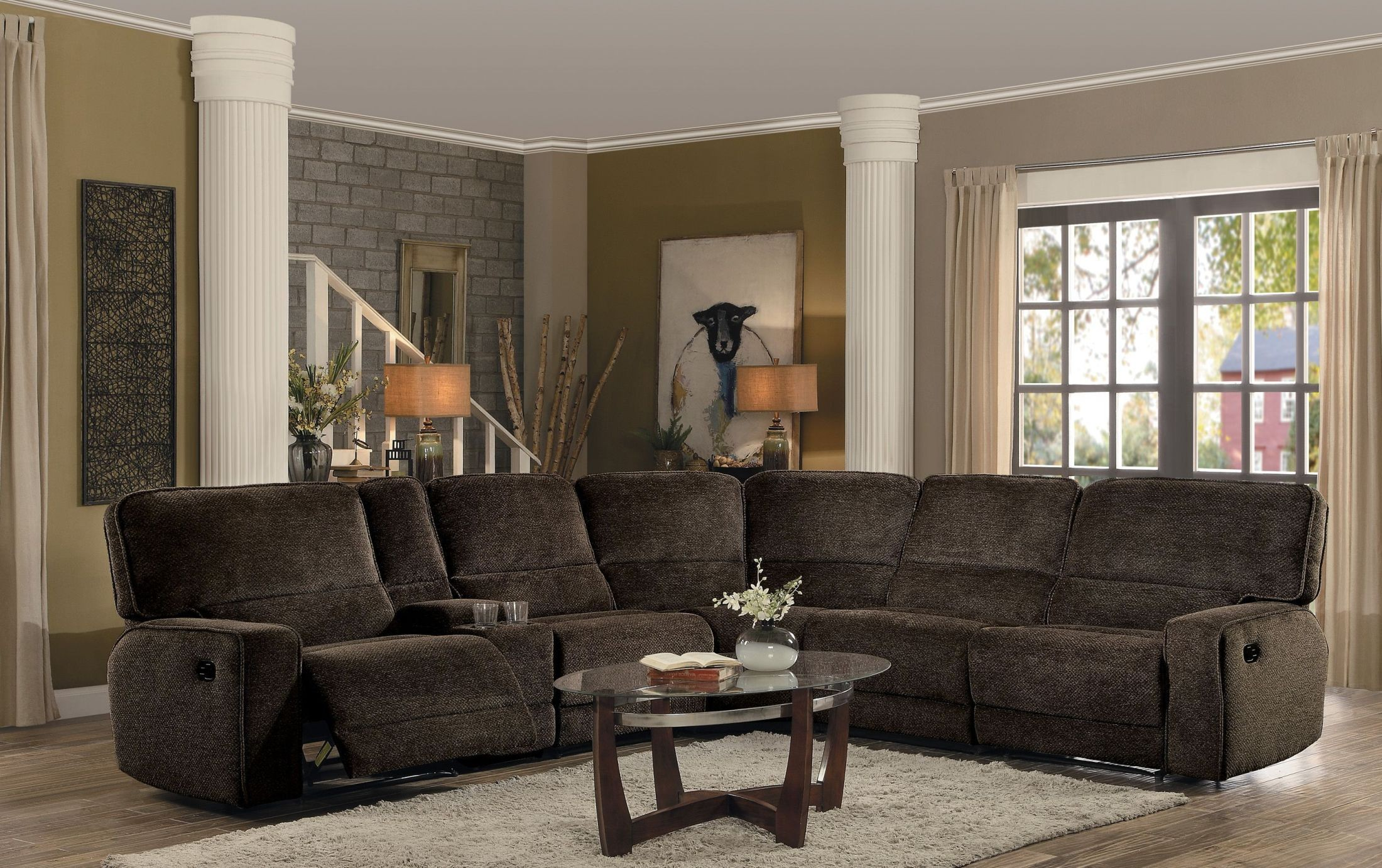 Shreveport Brown Reclining Sectional From Homelegance Coleman  # Muebles Nicasio Orono
