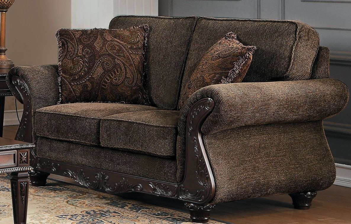 Mandeville Brown Chenille Loveseat From Homelegance Coleman Furniture
