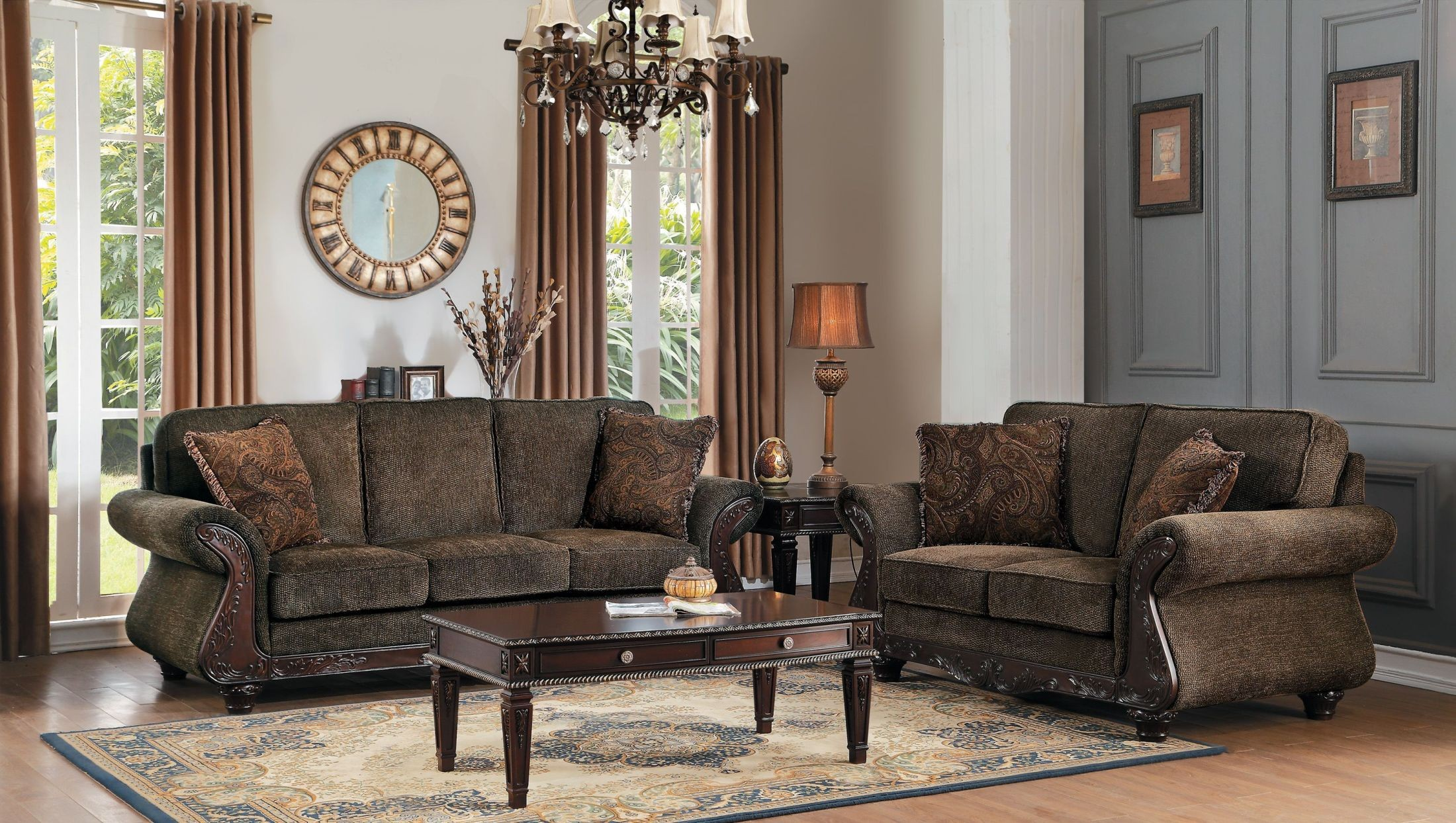 Mandeville Brown Chenille Living Room Set from Homelegance ...