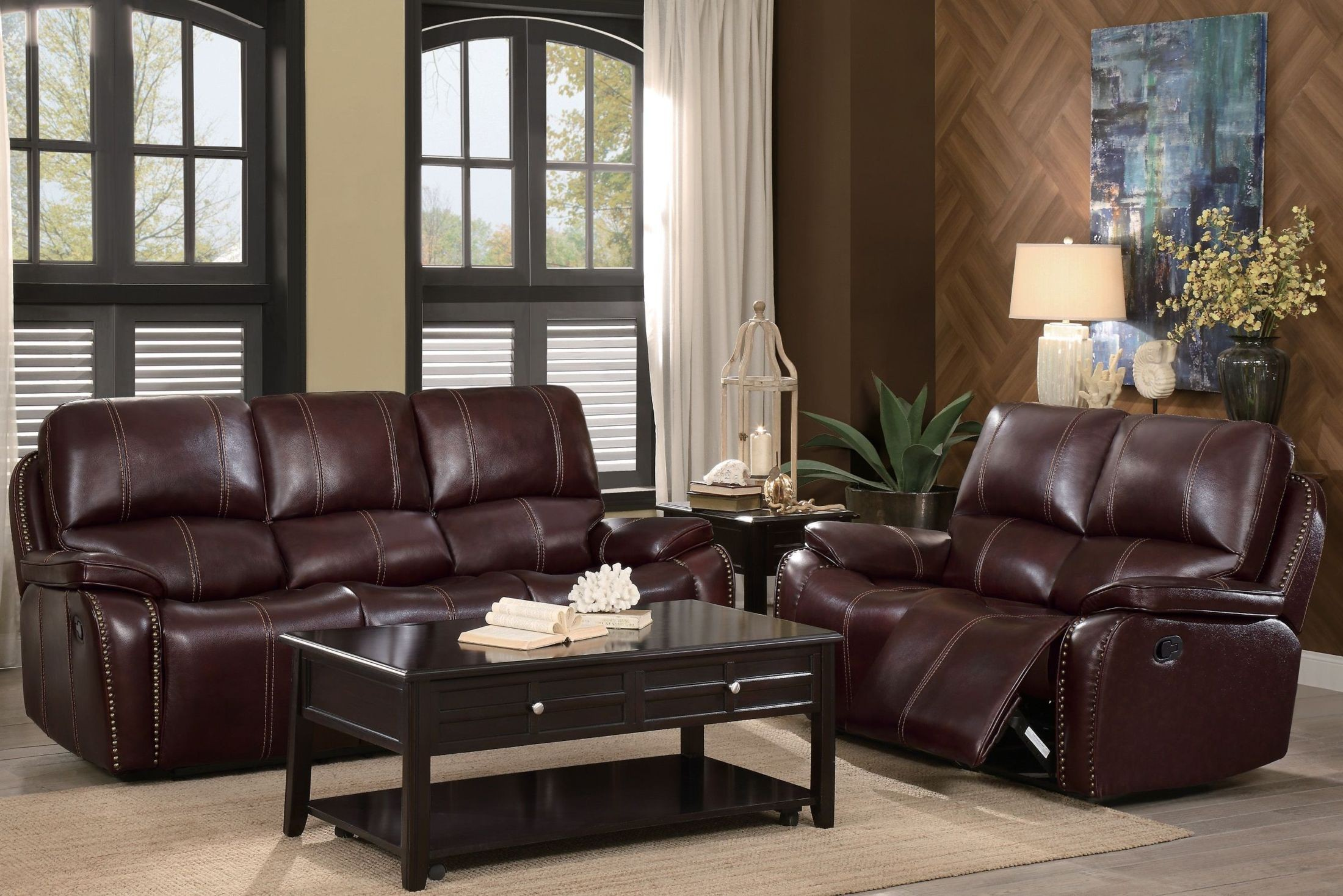 Haughton Brown Double Reclining Sofa From Homelegance Coleman  # Muebles Nicasio Orono