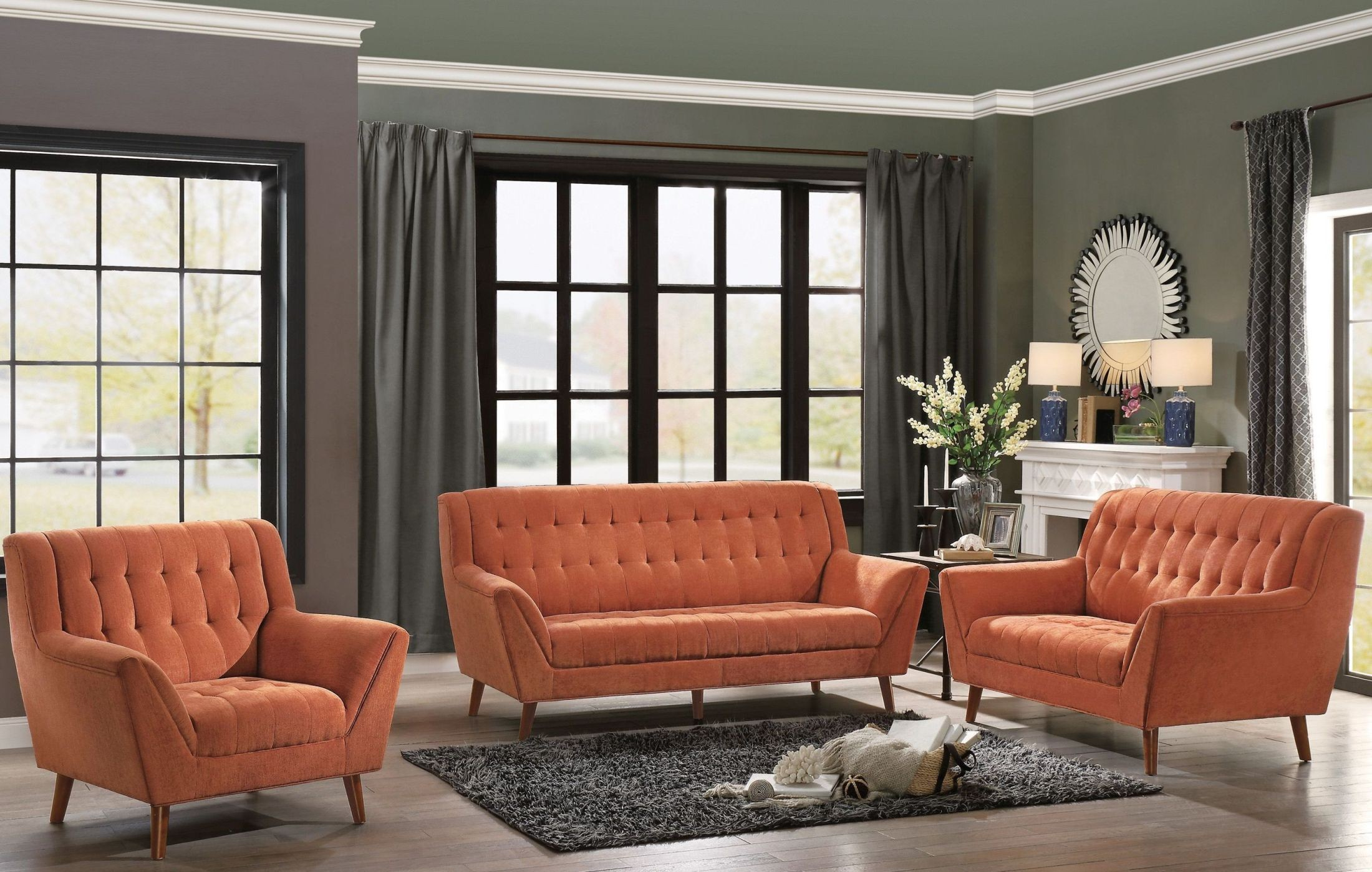 erath orange living room set from homelegance coleman furniture