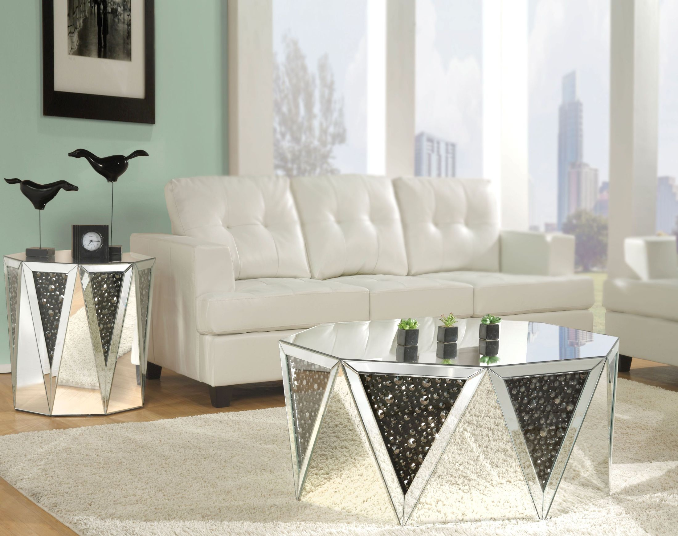 Noor Mirrored Occasional Table Set from Acme | Coleman Furniture