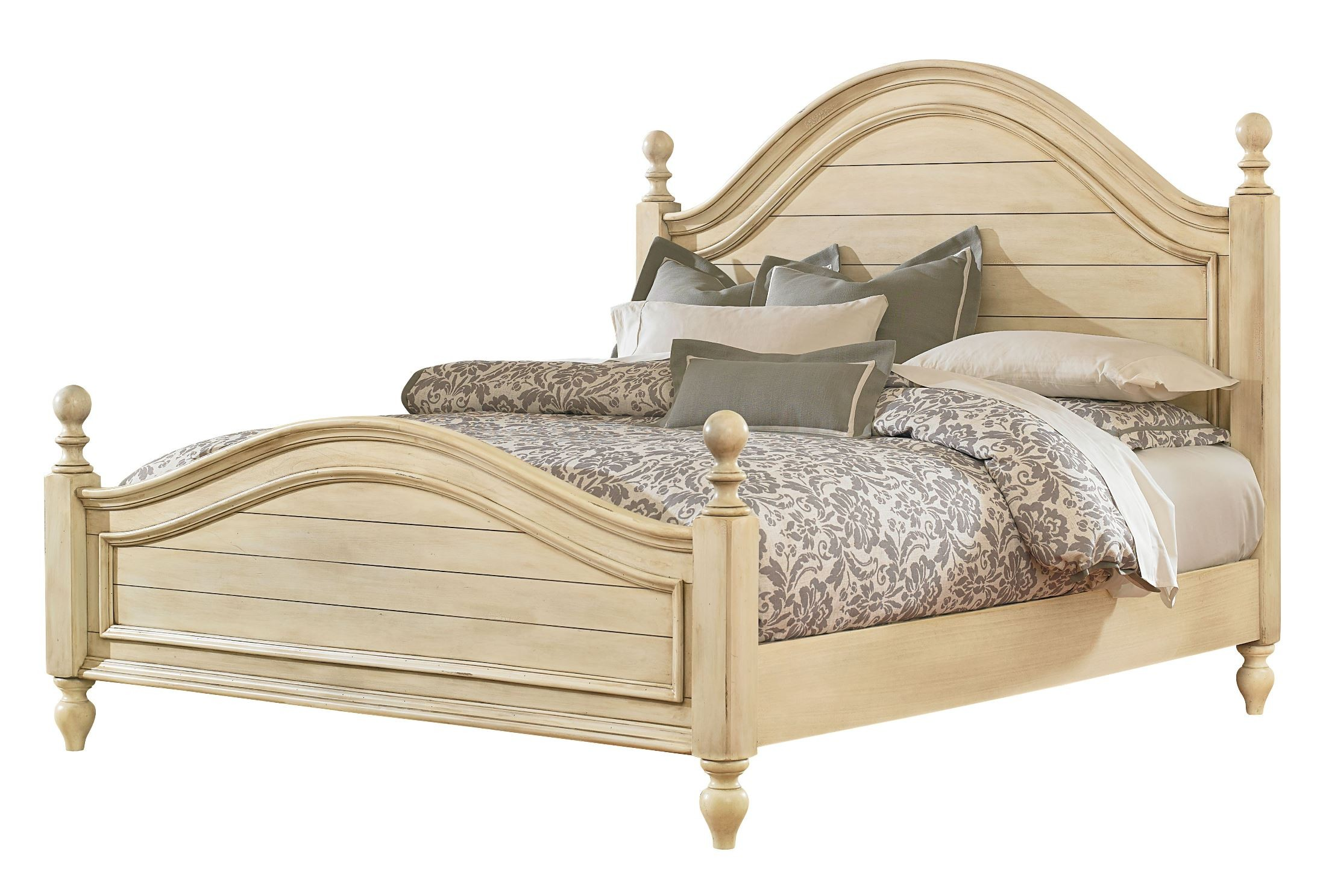Chateau Antique French Bisque Queen Poster Bed From