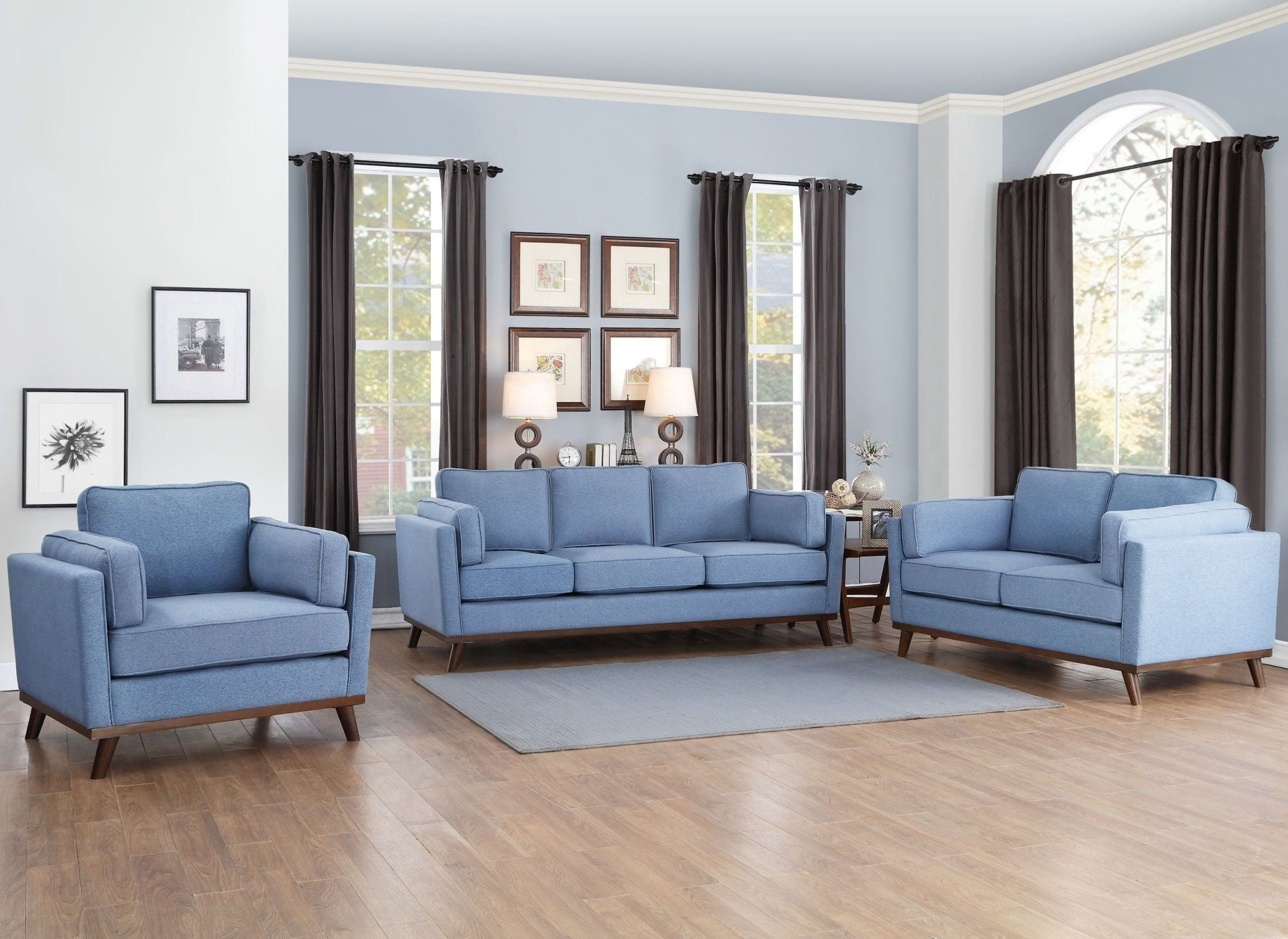 Bedos Blue Living Room Set from Homelegance
