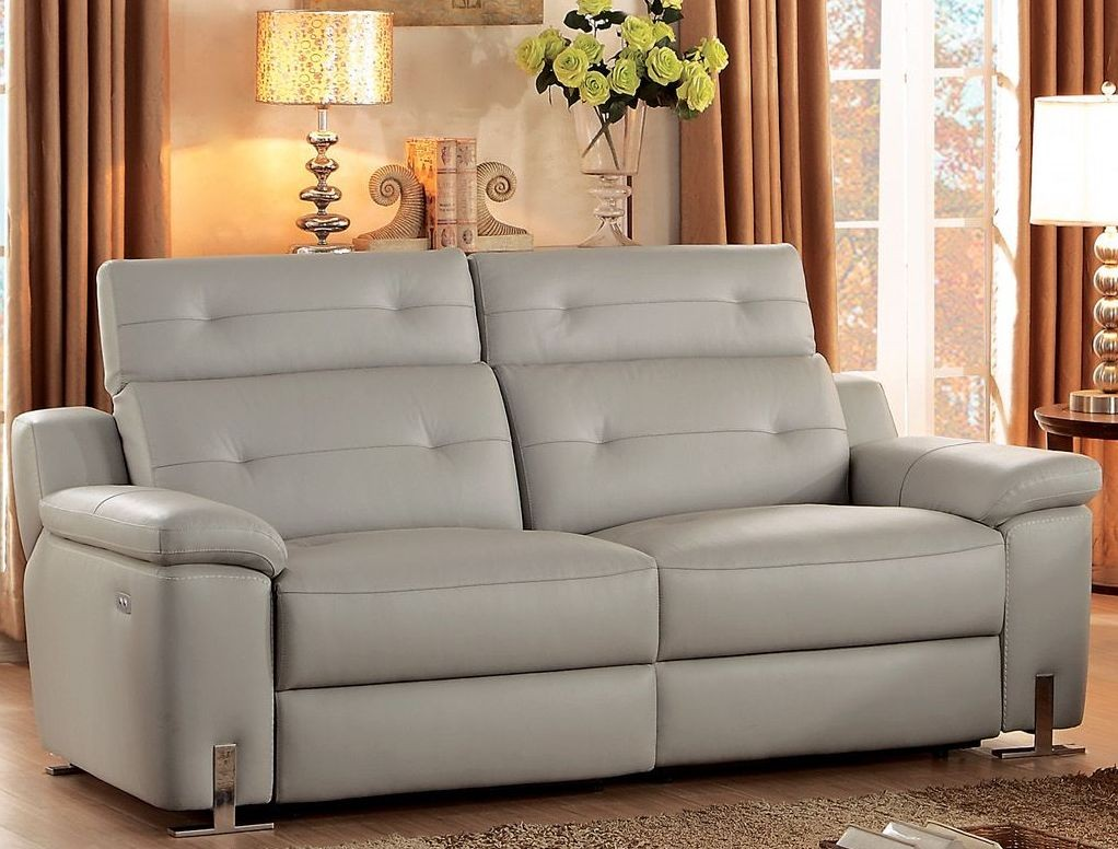 Vortex gray power double reclining sofa from homelegance for Grey double divan