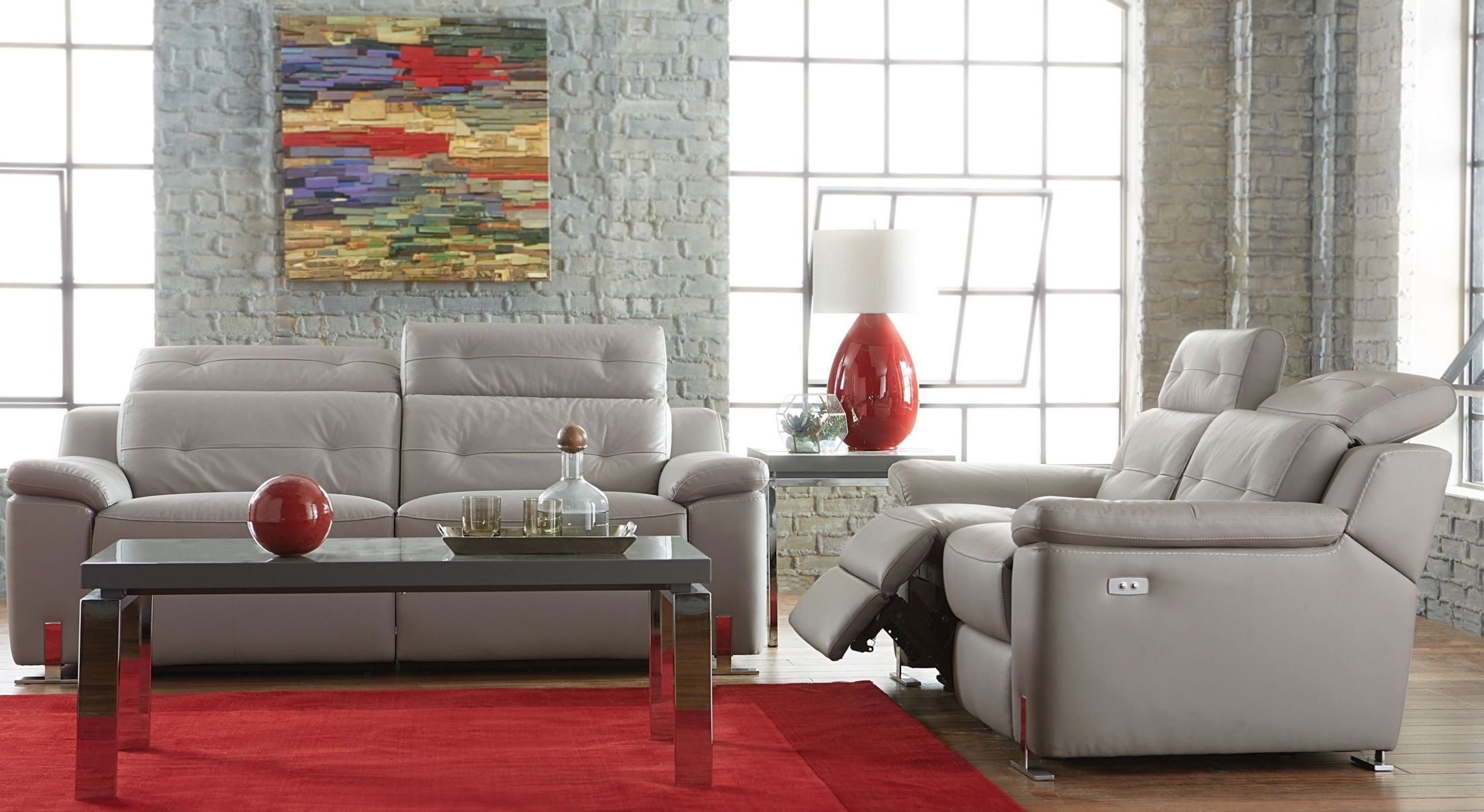 Vortex Gray Power Double Reclining Sofa From Homelegance Coleman  # Muebles Nicasio Orono